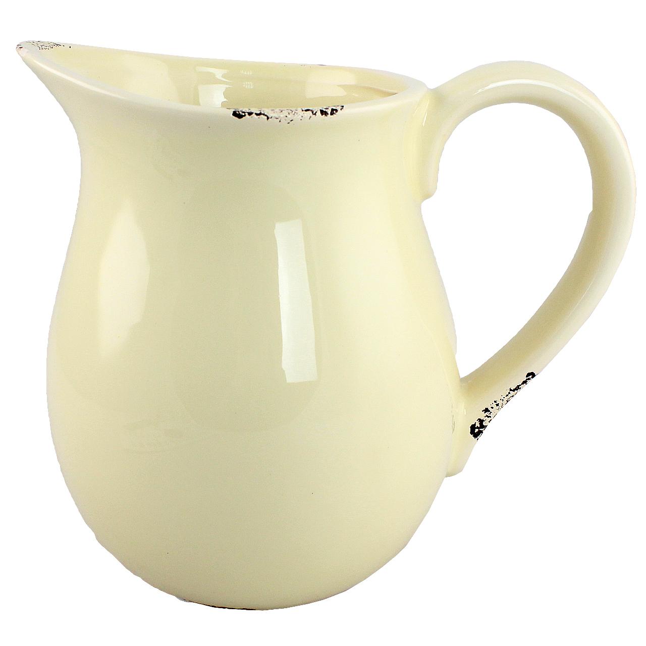 Carafa Cu Maner Din Ceramica Crem 16 Cm