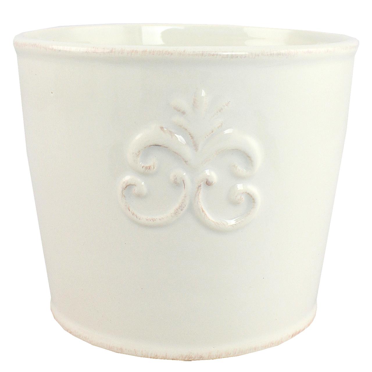 Ghiveci Din Ceramica Alba 13 Cm