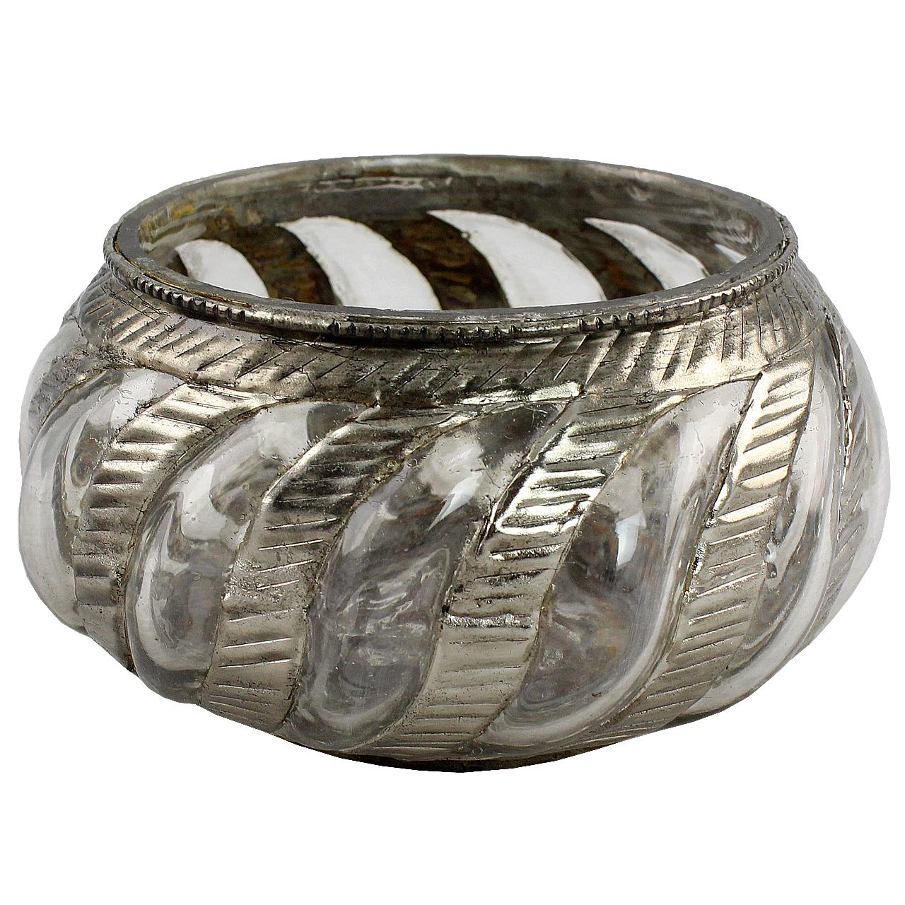 Candela Din Sticla Si Metal Antichizat 12.5 Cm