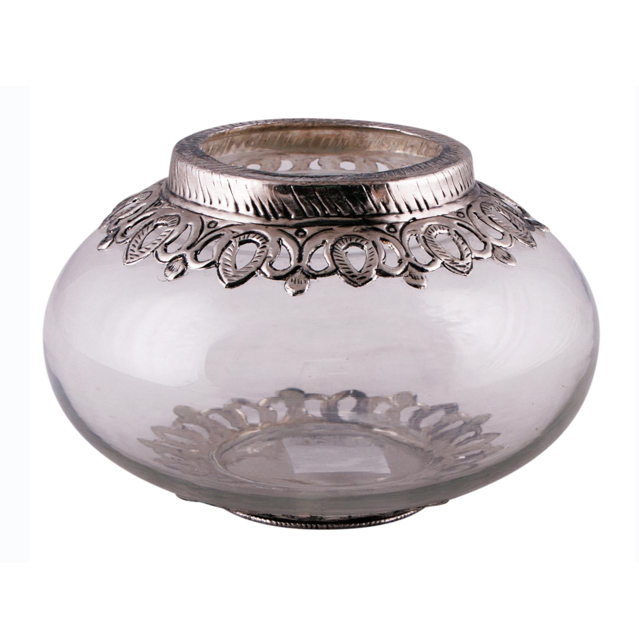 Bol Decorativ Rotund Din Sticla Si Metal 18 Cm