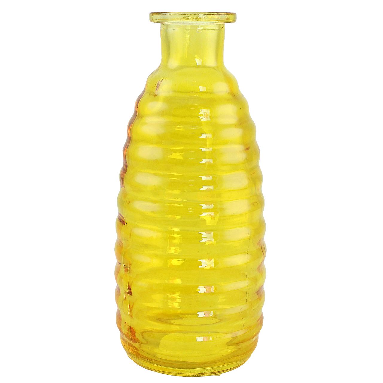 Vaza Decorativa Din Sticla Galbena 23 Cm