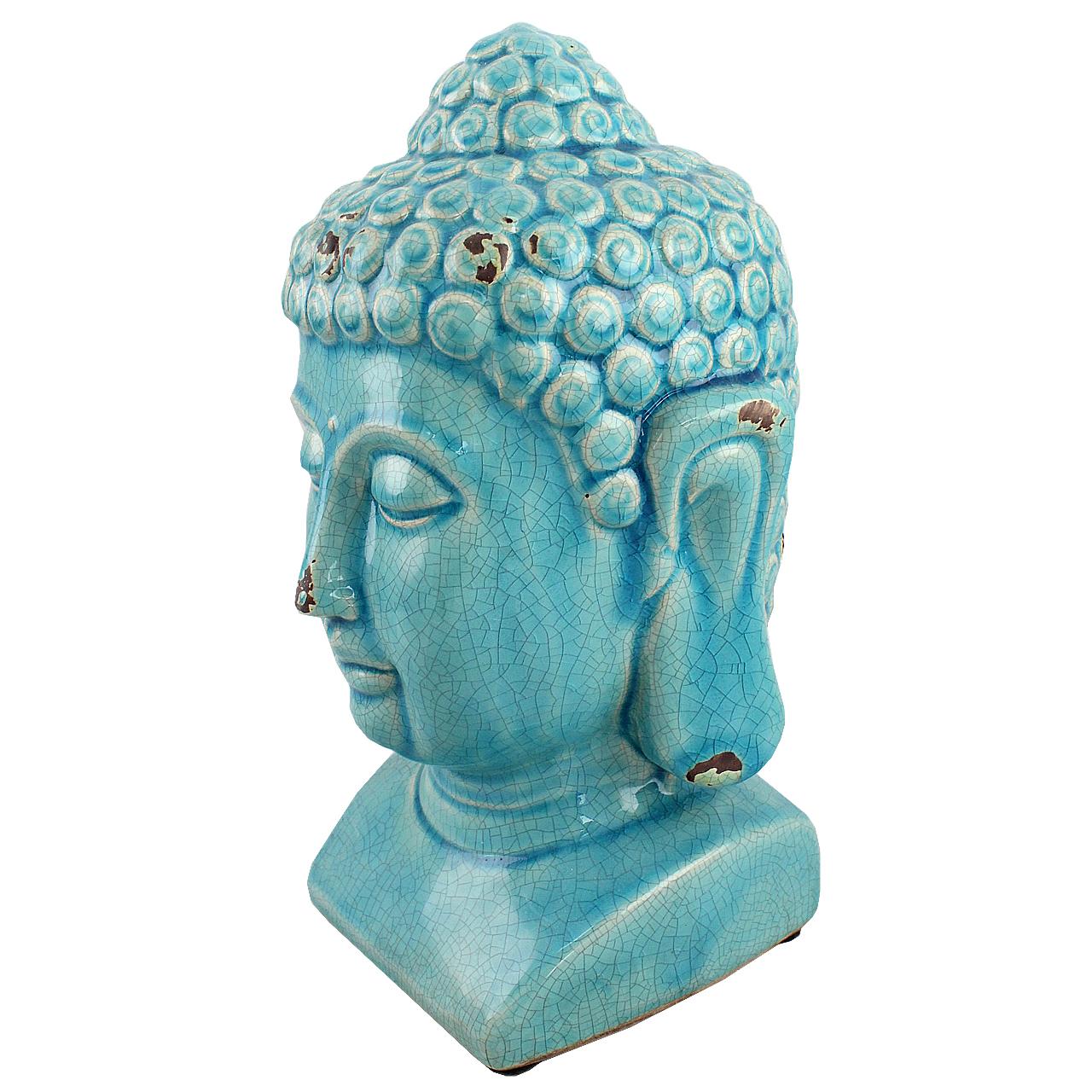 Statueta Cap De Buddha Din Ceramica Turcoaz 24 Cm