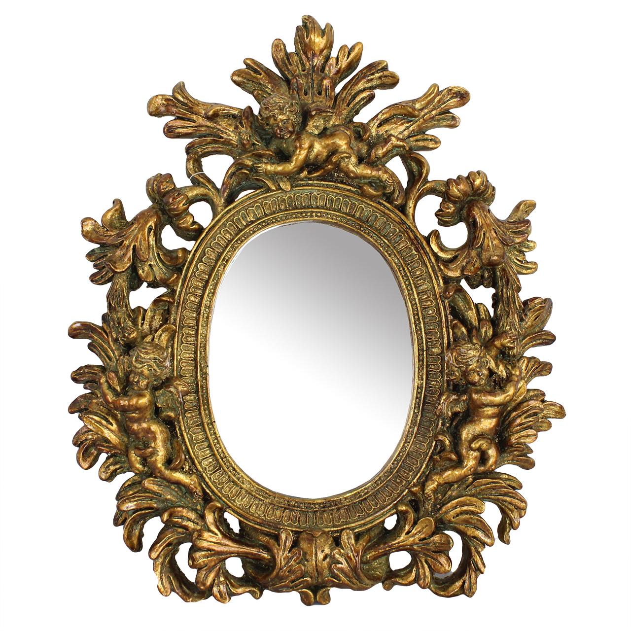 Oglinda Retro Din Ceramica Aurie 35x40 Cm
