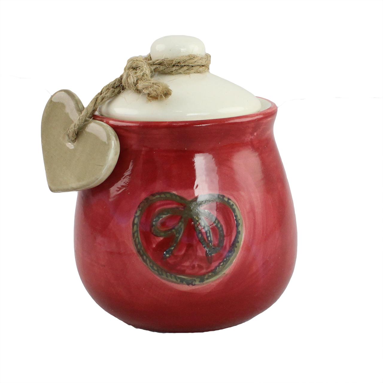 Recipient Pentru Zahar Din Ceramica Rosie Cu Inima