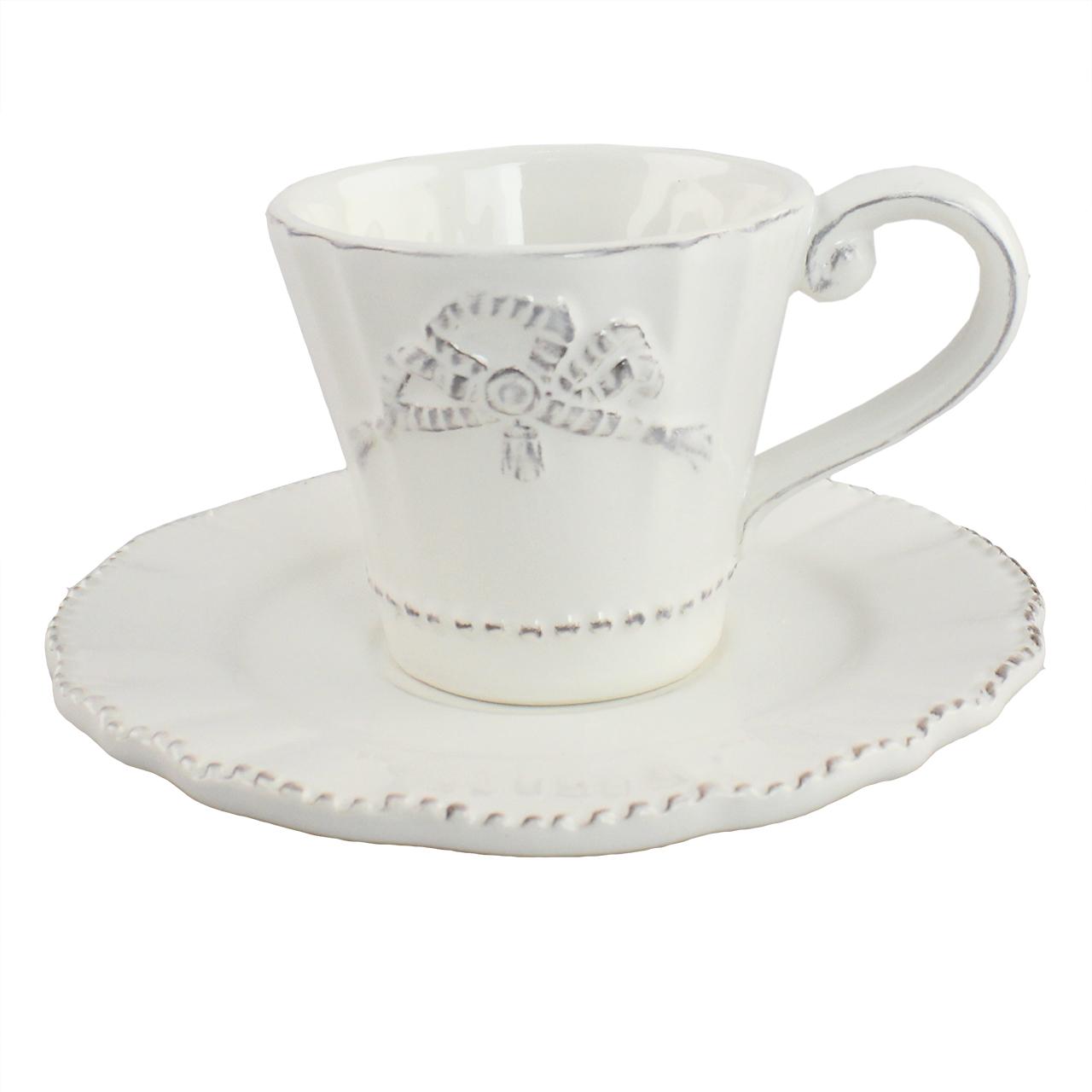 Ceasca De Cafea Cu Farfurie Din Ceramica Alba Cu F