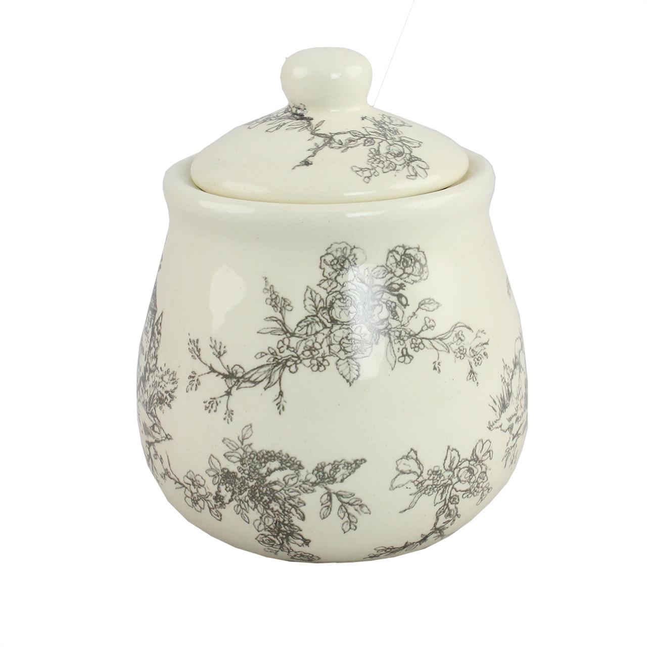 Recipient Pentru Zahar Cu Capac Din Ceramica Crem Cu Flori