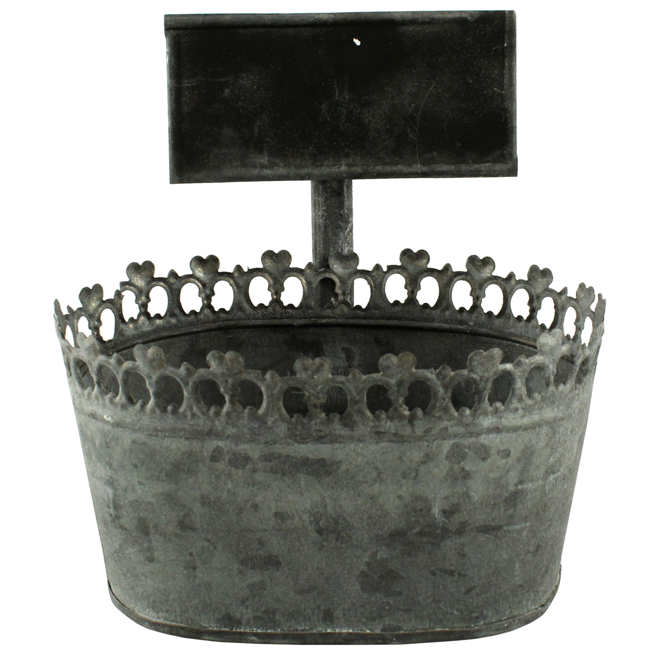 Jardiniera Din Metal Gri Cu Tablita 16.5 Cm