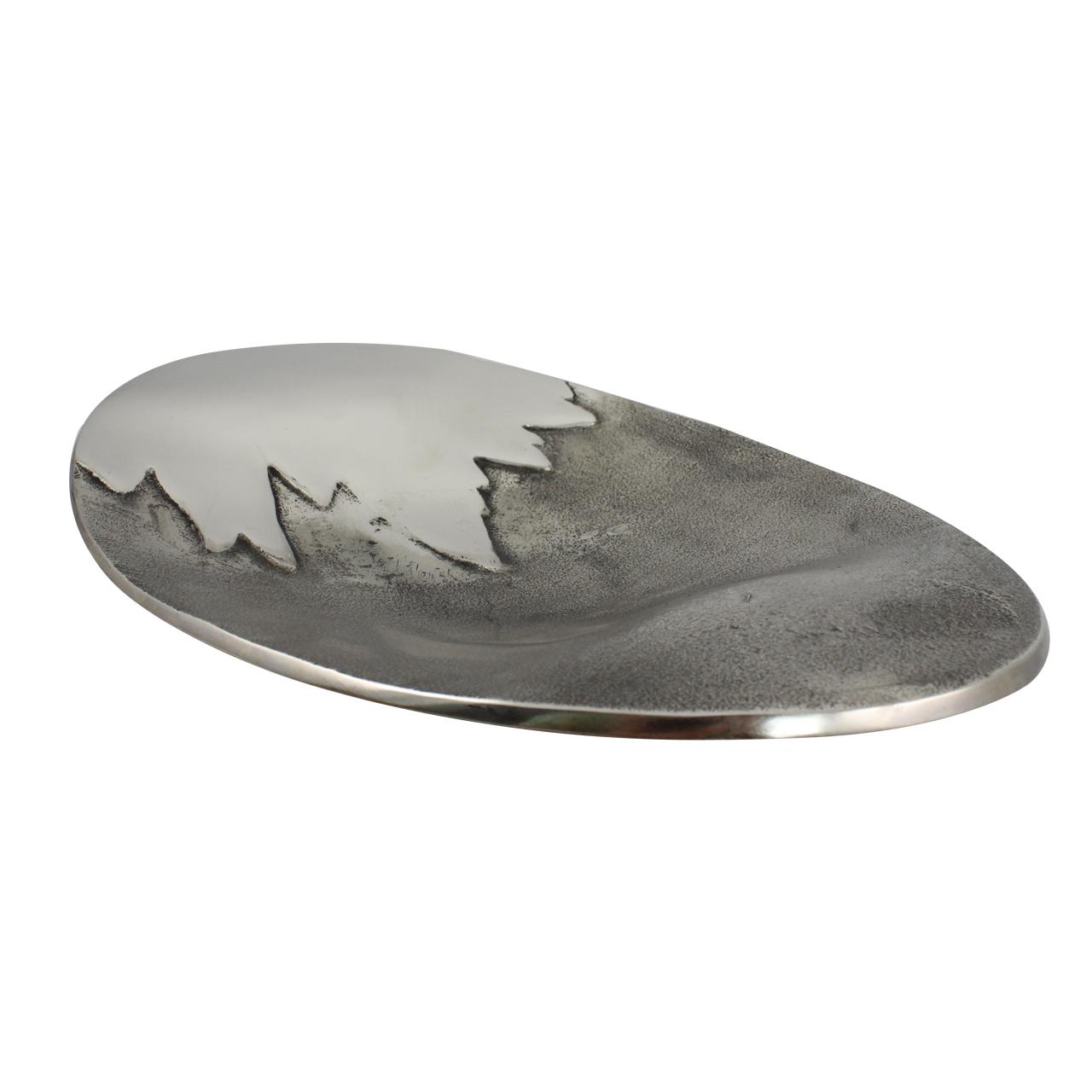 Platou Decorativ Oval Din Aluminiu Si Nichel 32 Cm