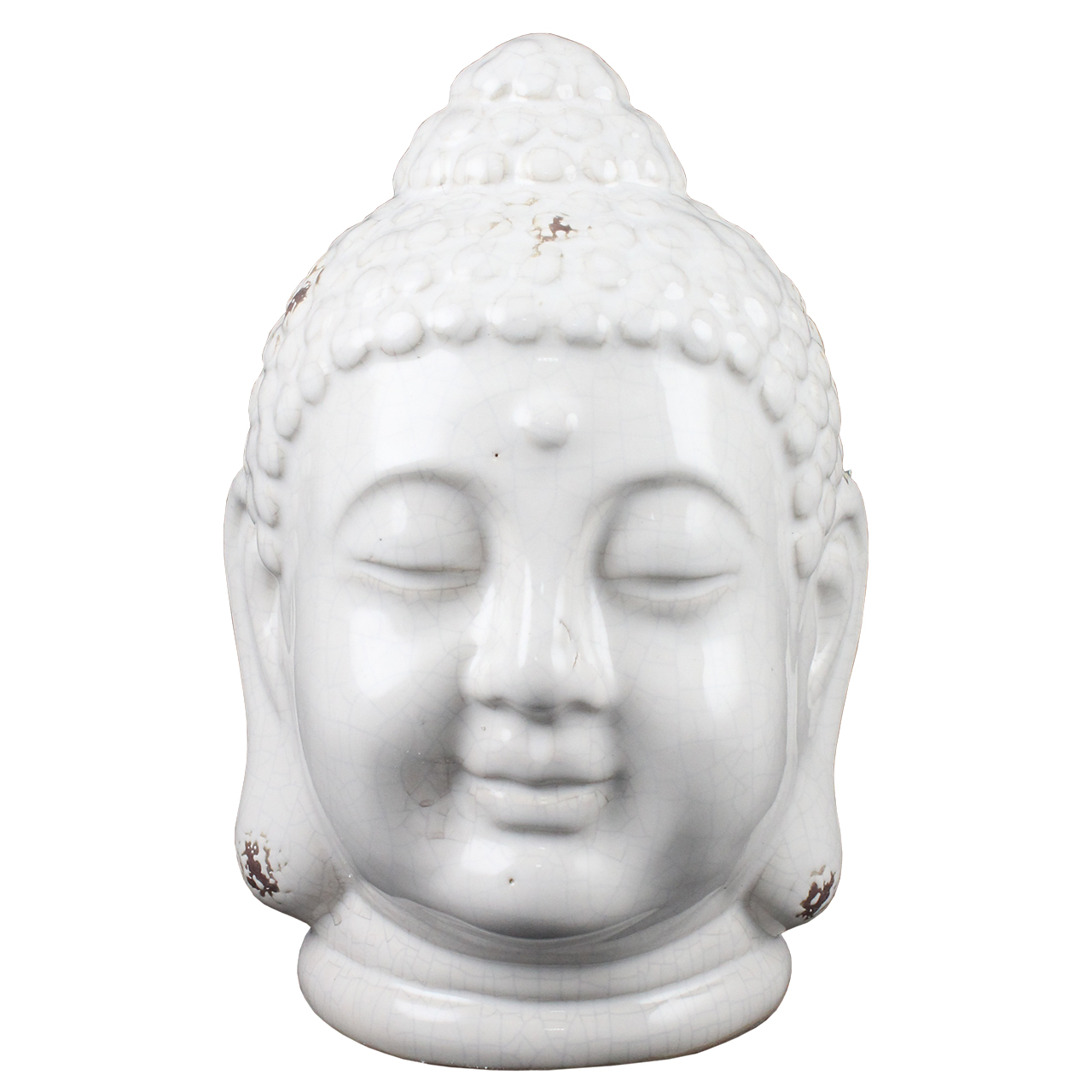 Statueta Cap De Buddha Din Ceramica Alba 25 Cm