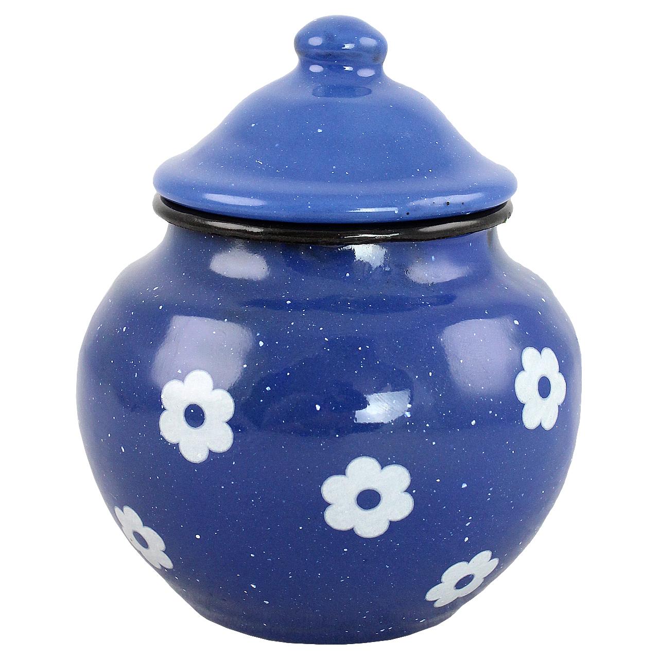 Recipient Pentru Zahar Din Metal Albastru Cu Flori