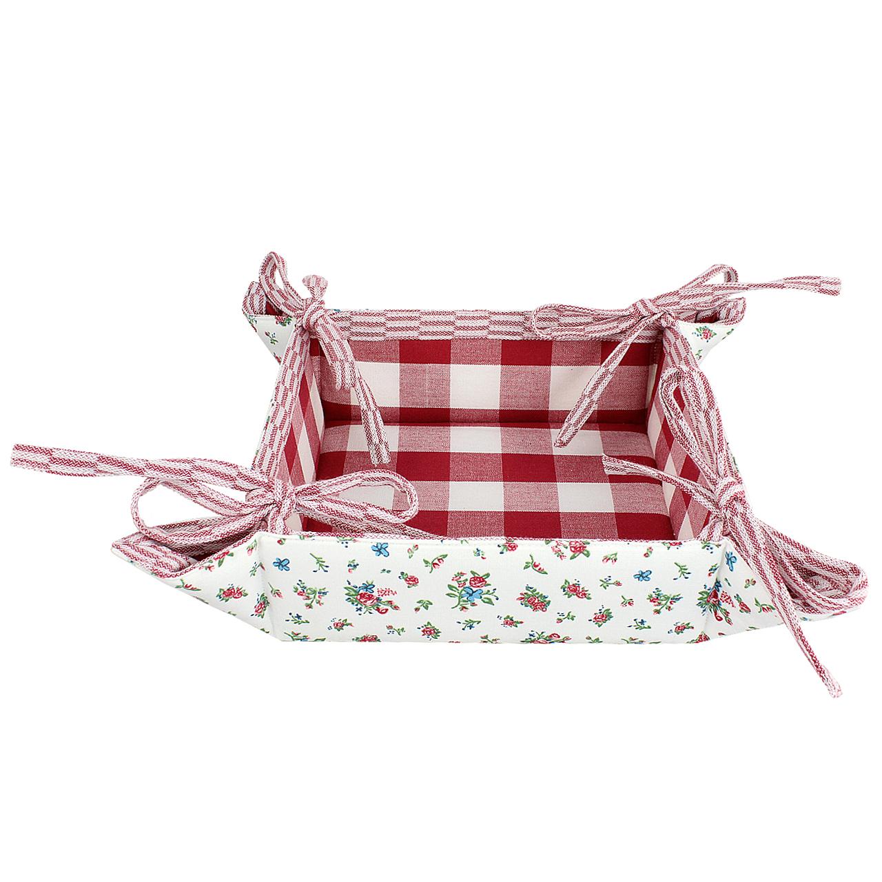 Cos Pentru Paine Din Textil Alb Cu Rosu