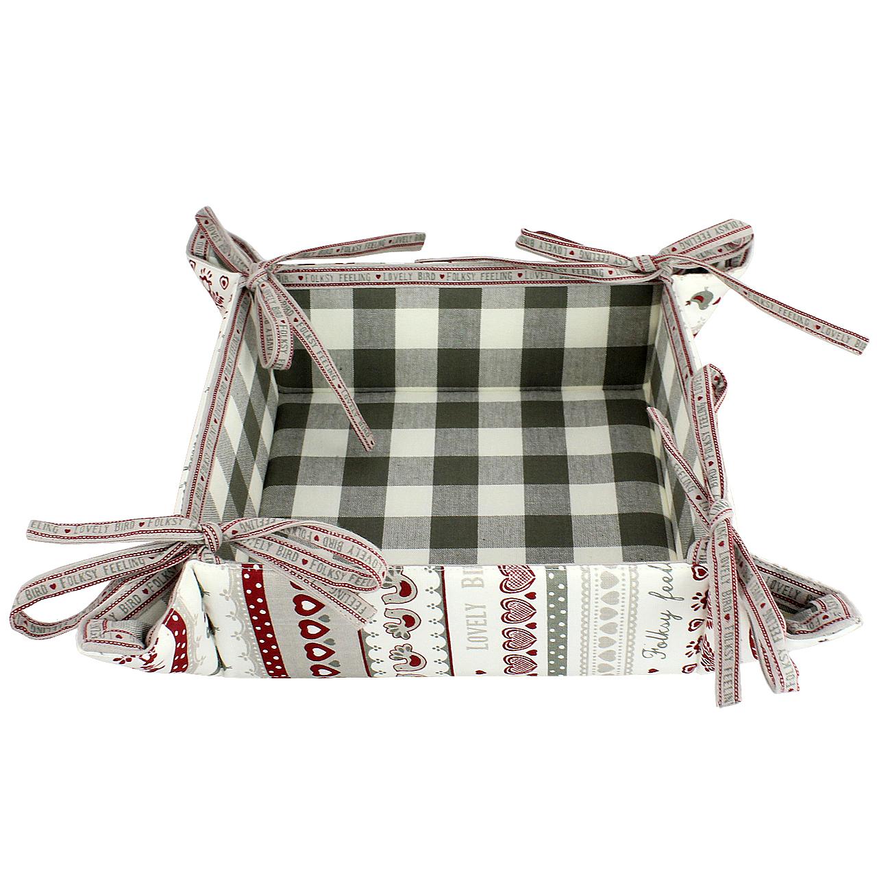 Cos Pentru Paine Din Textil Alb Cu Gri