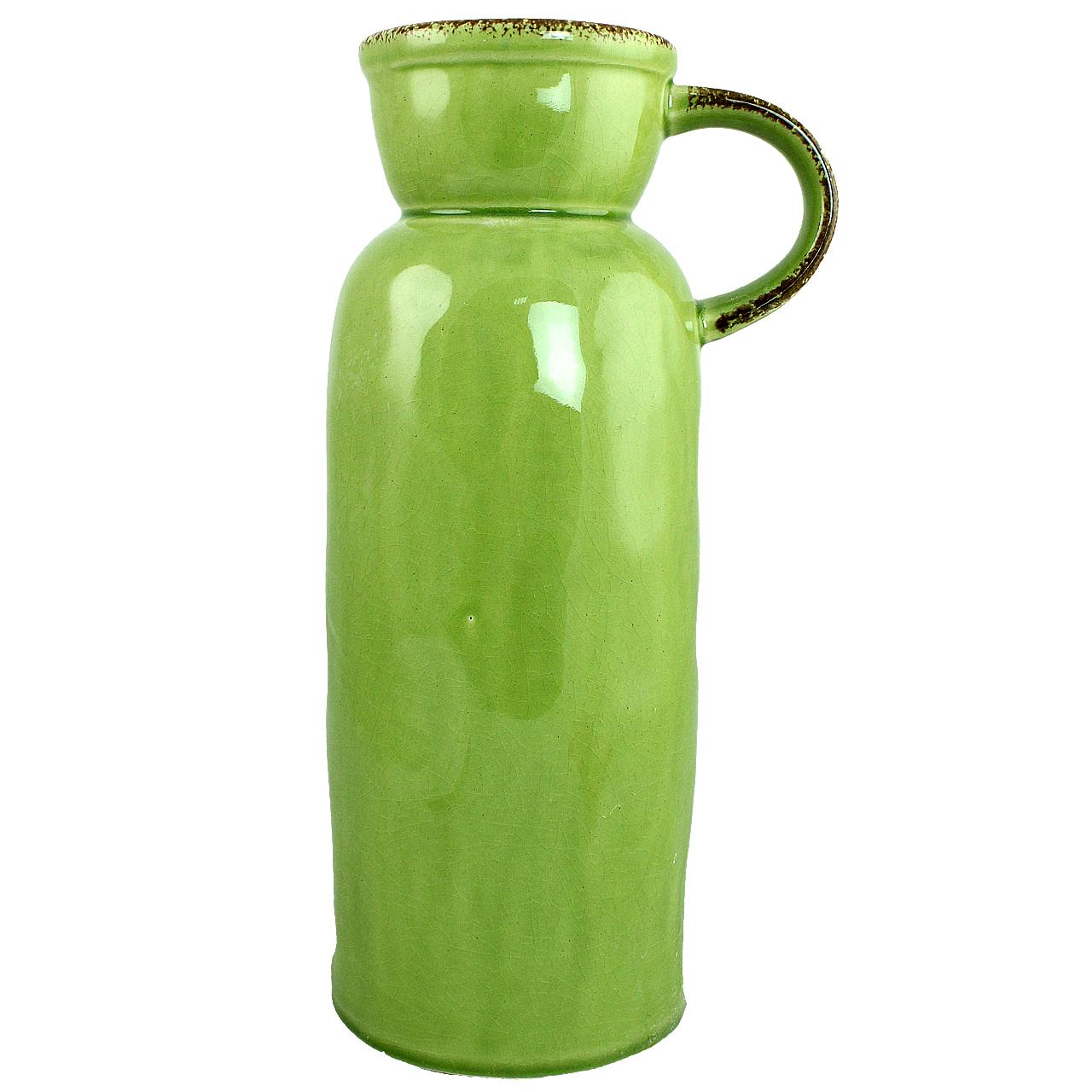 Vaza Cu Toarta Din Ceramica Verde 33.5 Cm