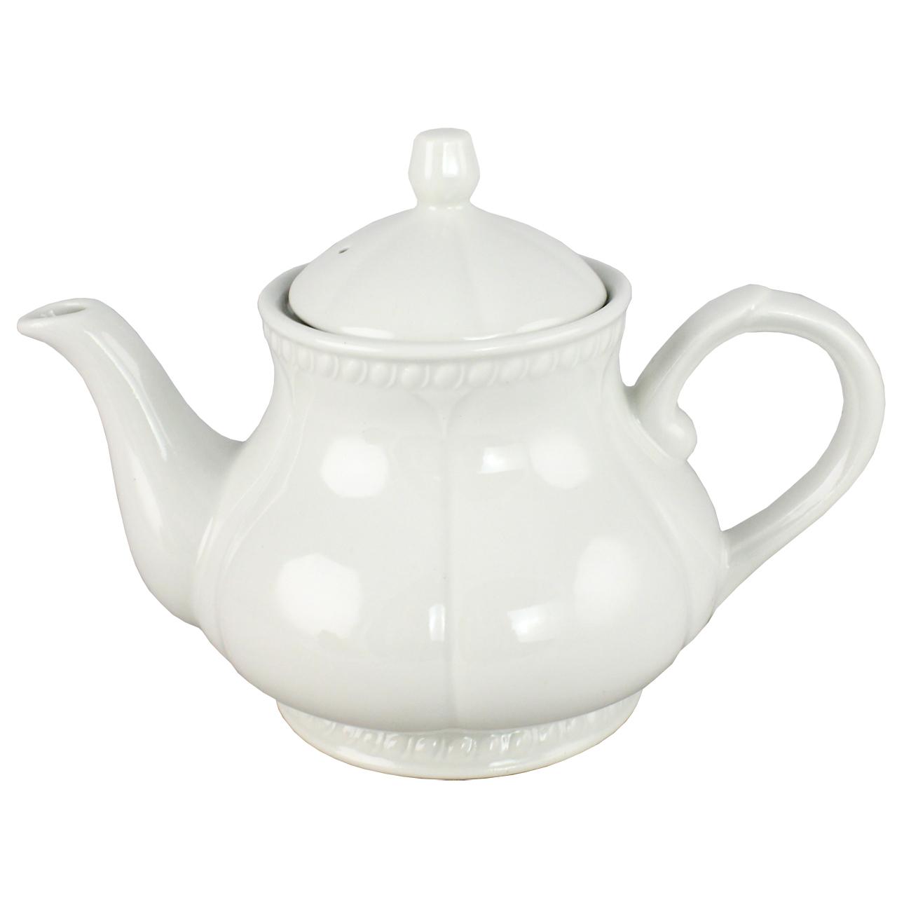 Ceainic Din Ceramica Alba 20 Cm