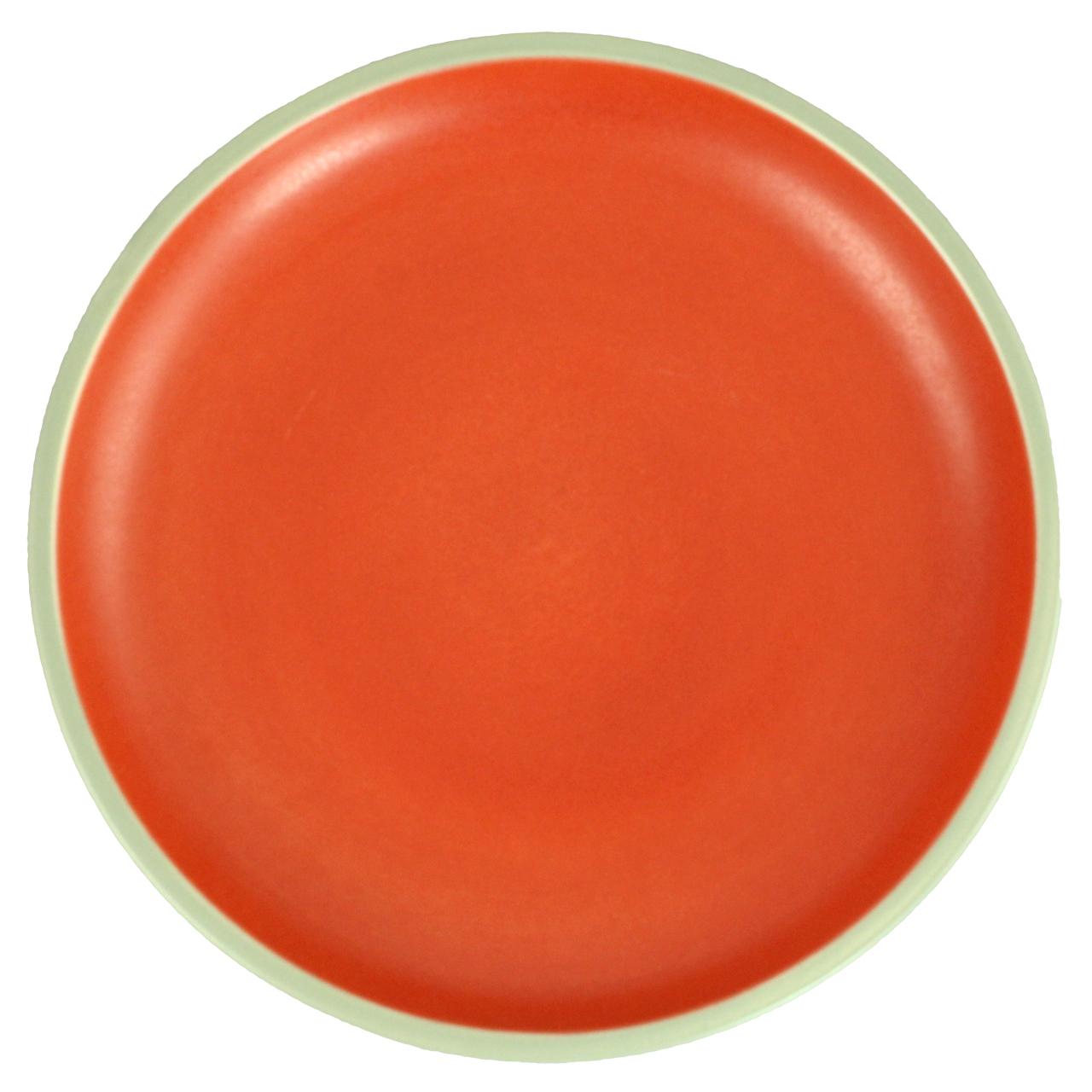 Farfurie Intinsa Din Ceramica Gri Cu Portocaliu