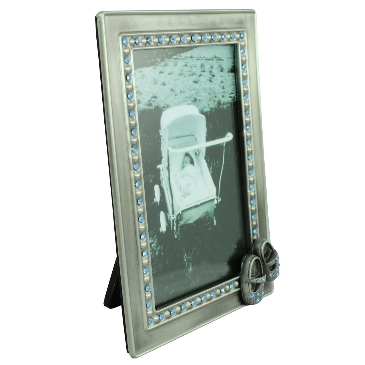 Rama Foto Dreptunghiulara Din Metal Argintiu Cu Pietre Albastre 16x11.5 Cm