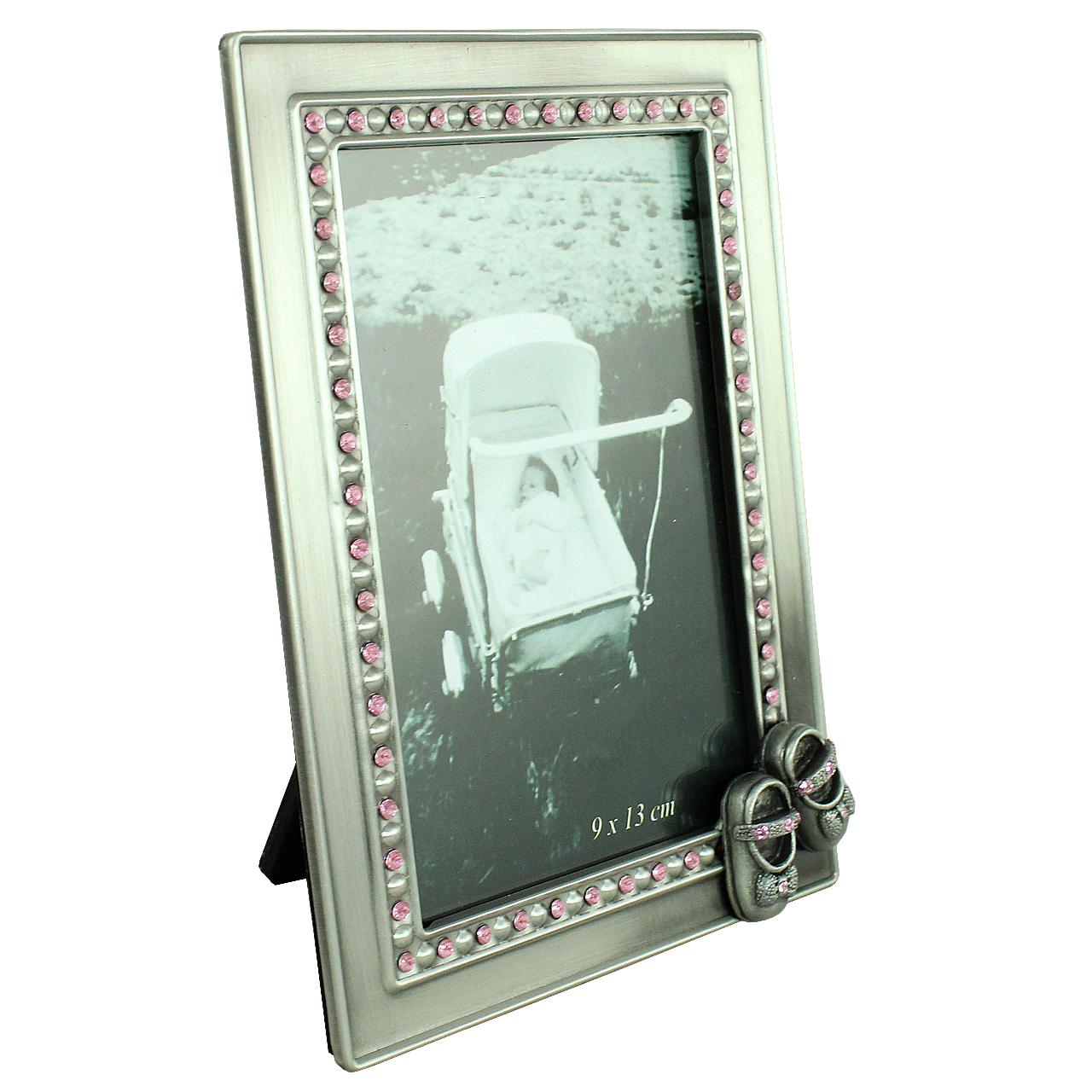 Rama Foto Dreptunghiulara Din Metal Argintiu Cu Pietre Roz 16x11.5 Cm