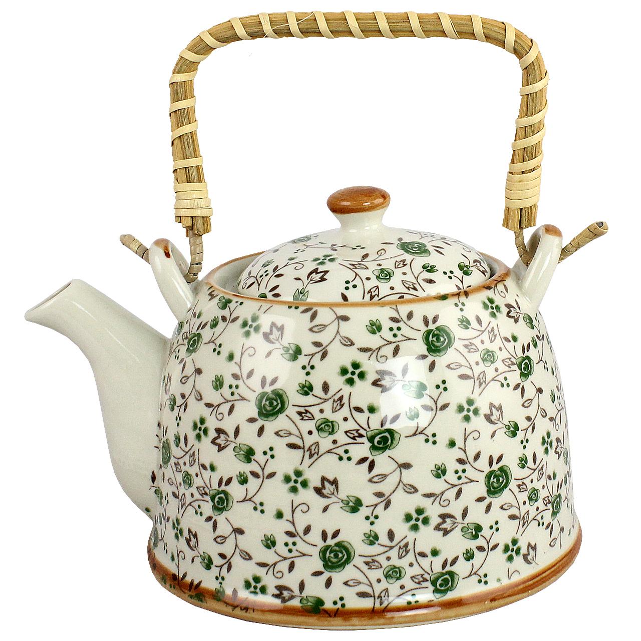 Ceainic Din Ceramica Alba Cu Flori Verzi