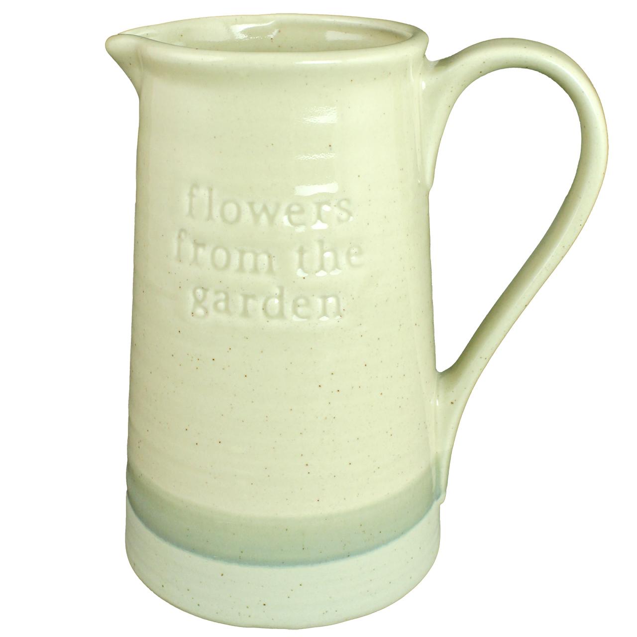 Vaza Cu Toarta Din Ceramica Bej Cu Gri 22.5 Cm