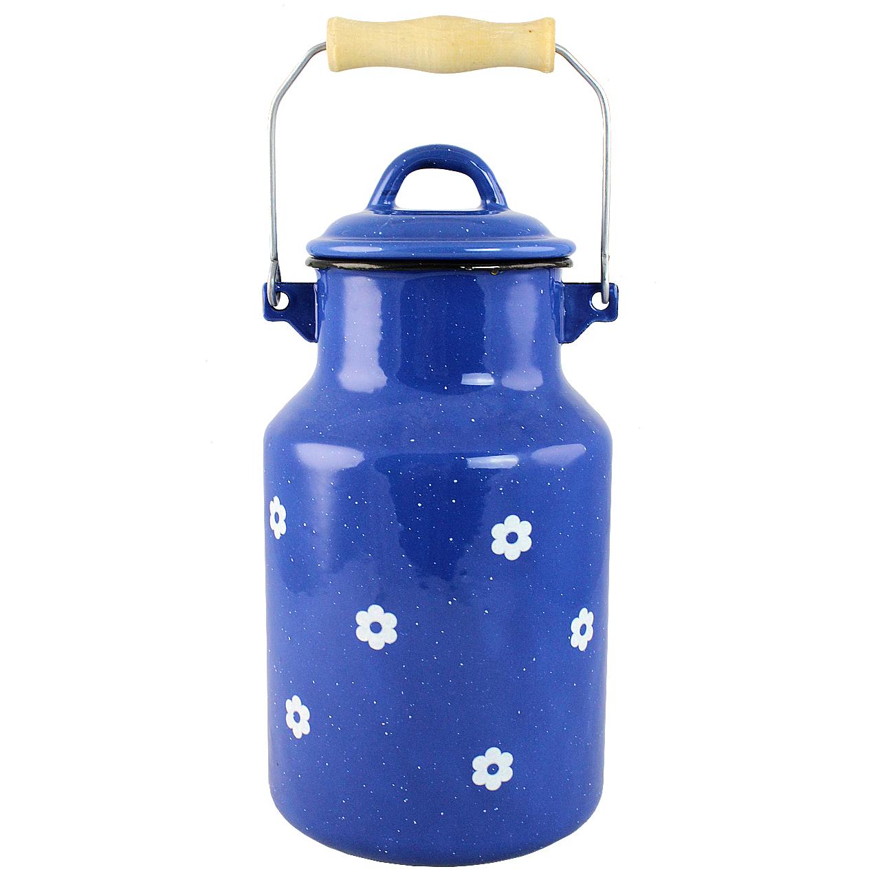 Vas Pentru Lapte Din Metal Albastru Cu Flori