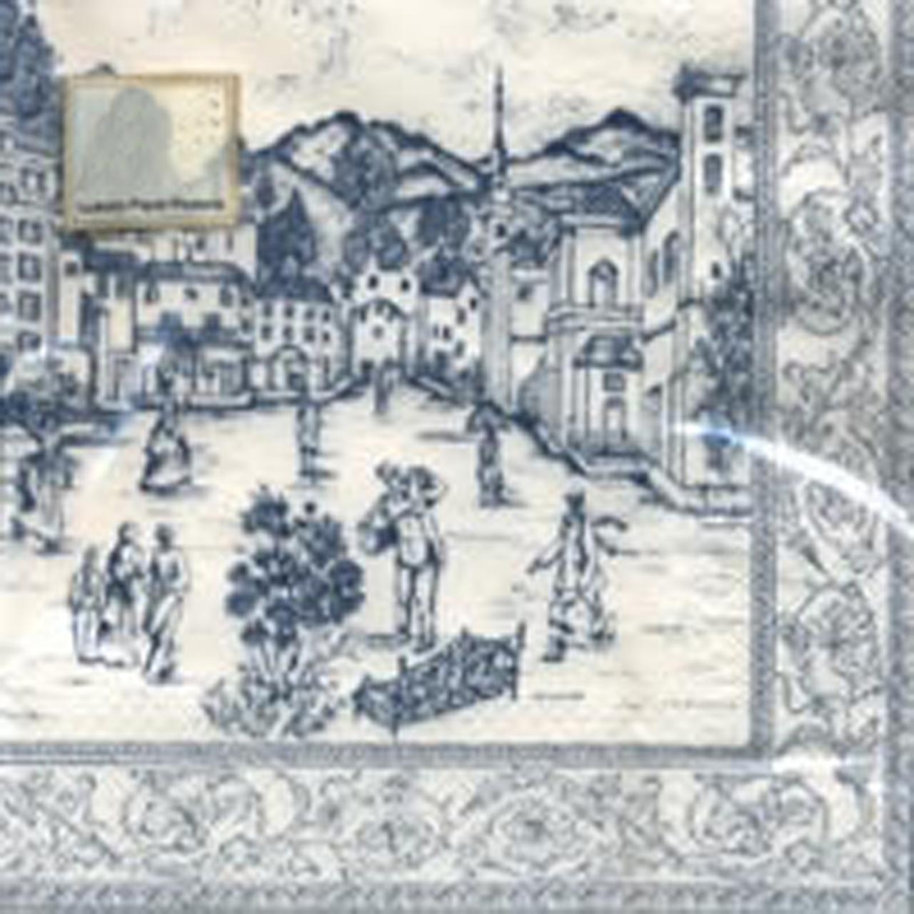 Servetele Decorative Din Hartie Crem Cu Albastru 3