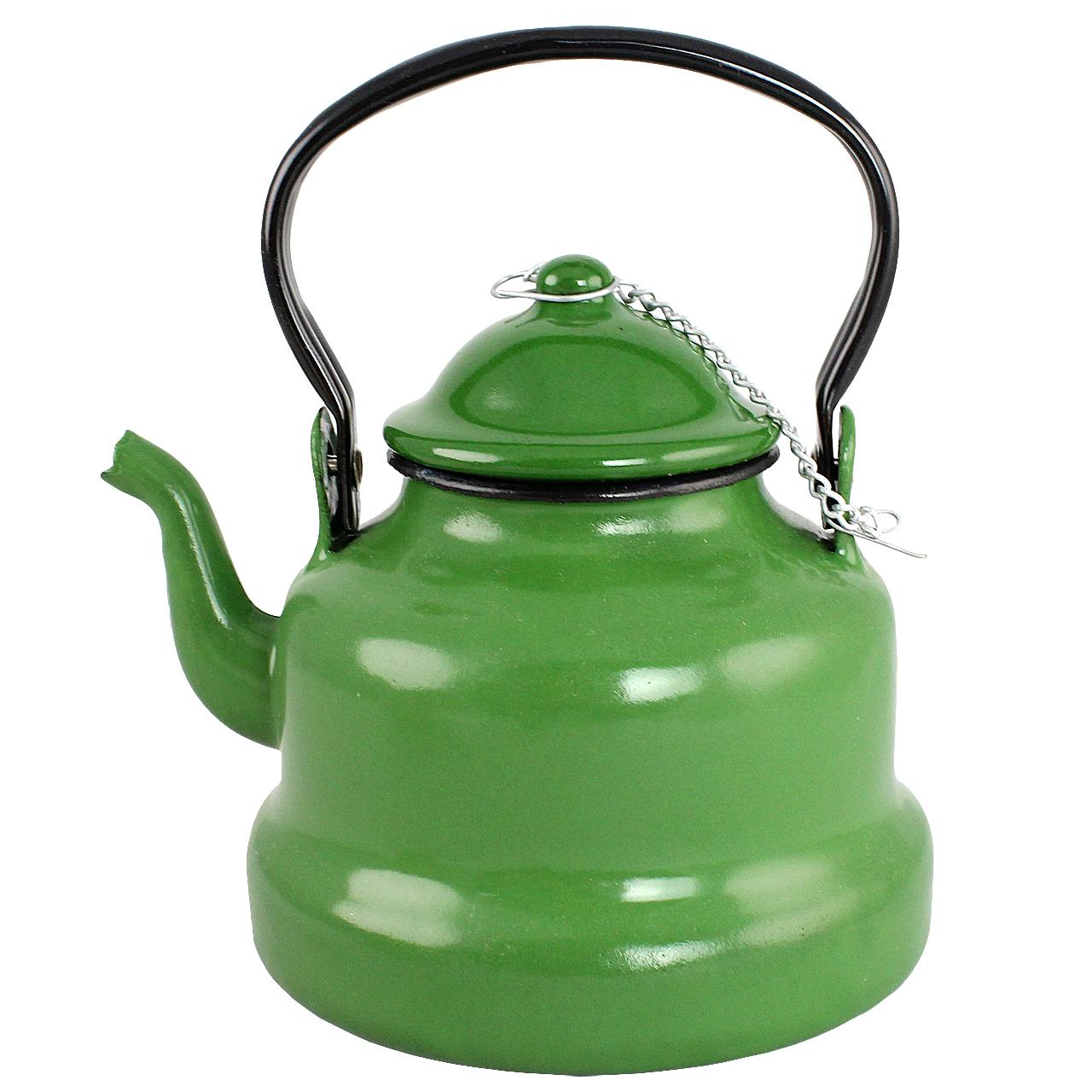 Ceainic Cu Fund Drept Din Metal Verde 1 Litru