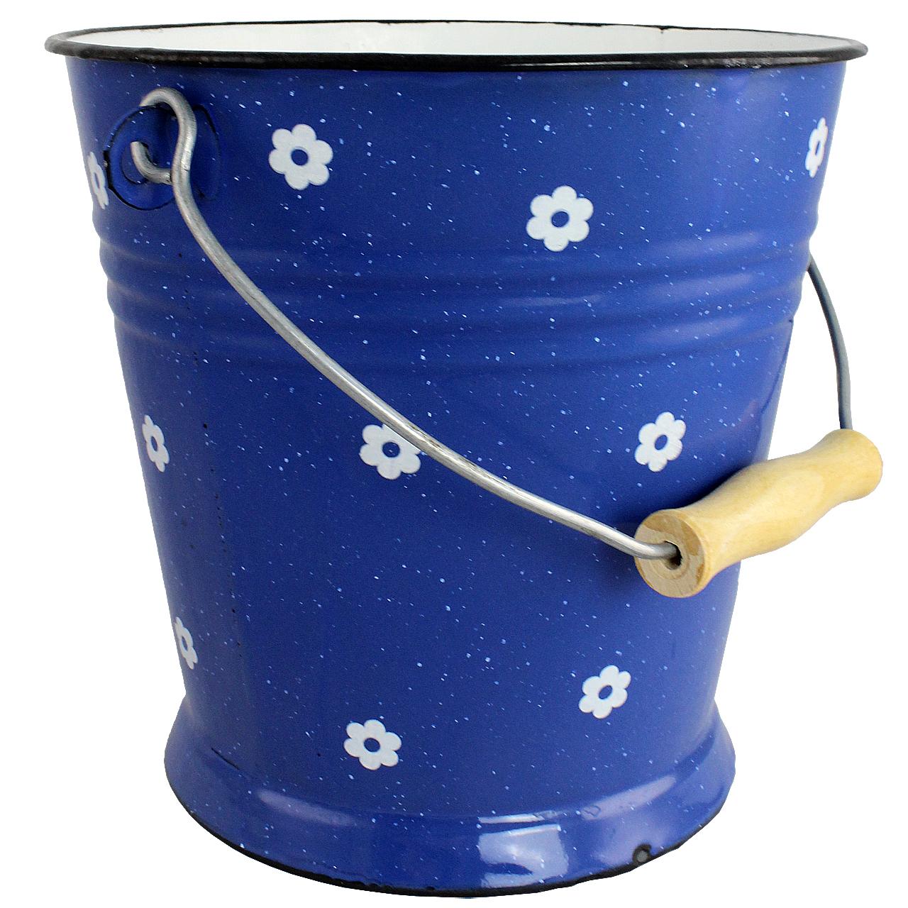 Galeata Din Metal Albastru Cu Flori 23 Cm