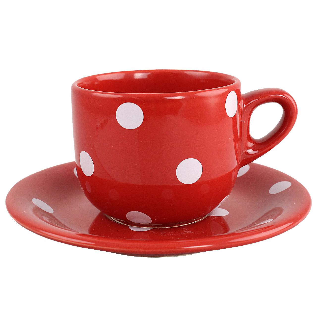 Ceasca Cu Farfurie Din Ceramica Rosie Cu Buline Al