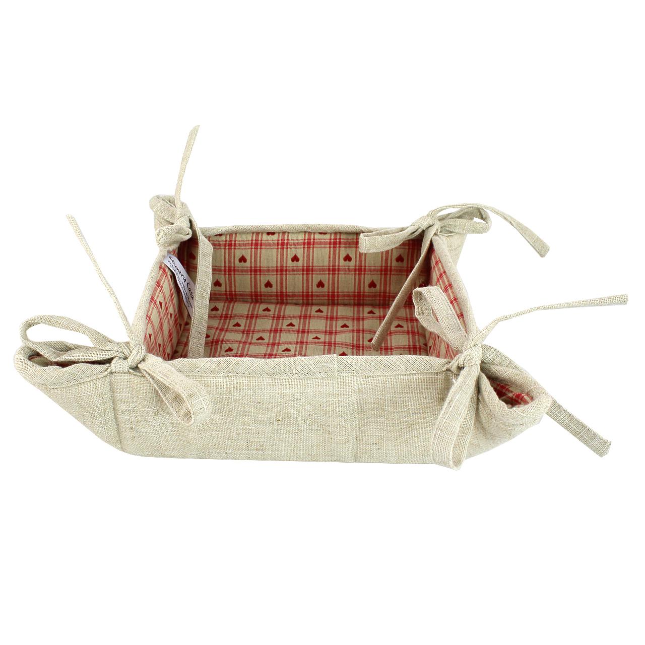 Cos Pentru Paine Din Textil Bej Cu Rosu