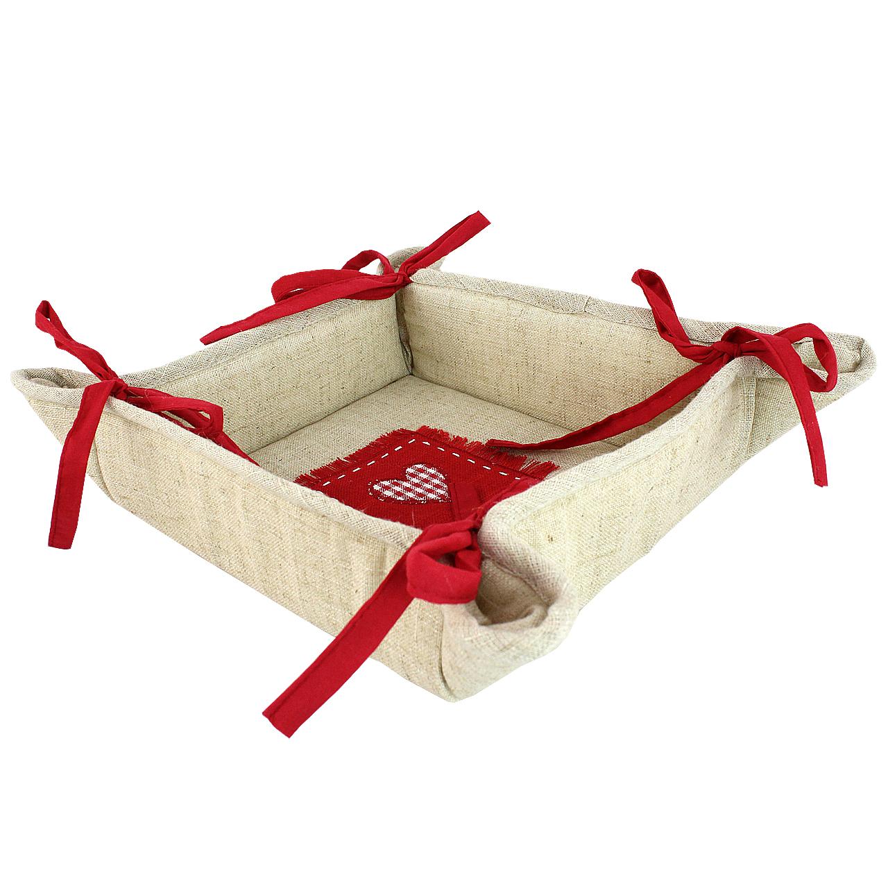 Cos Pentru Paine Din Textil Natur Cu Inima Rosie