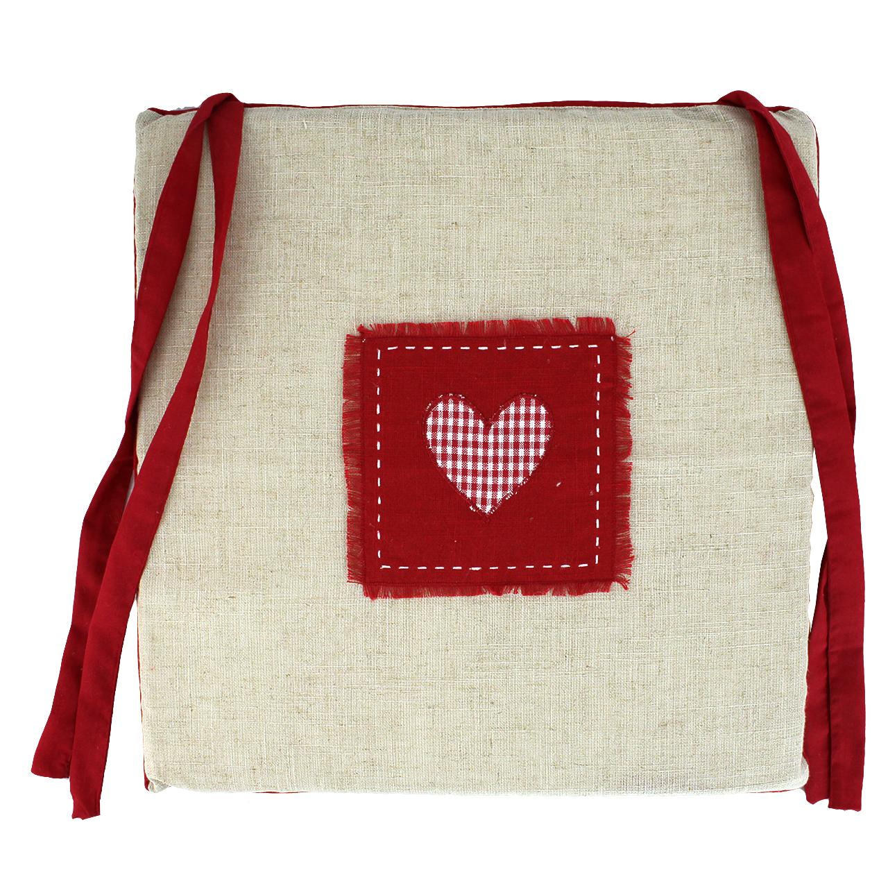 Perna Pentru Scaun Din Textil Bej Cu Funde Rosii 40 Cm