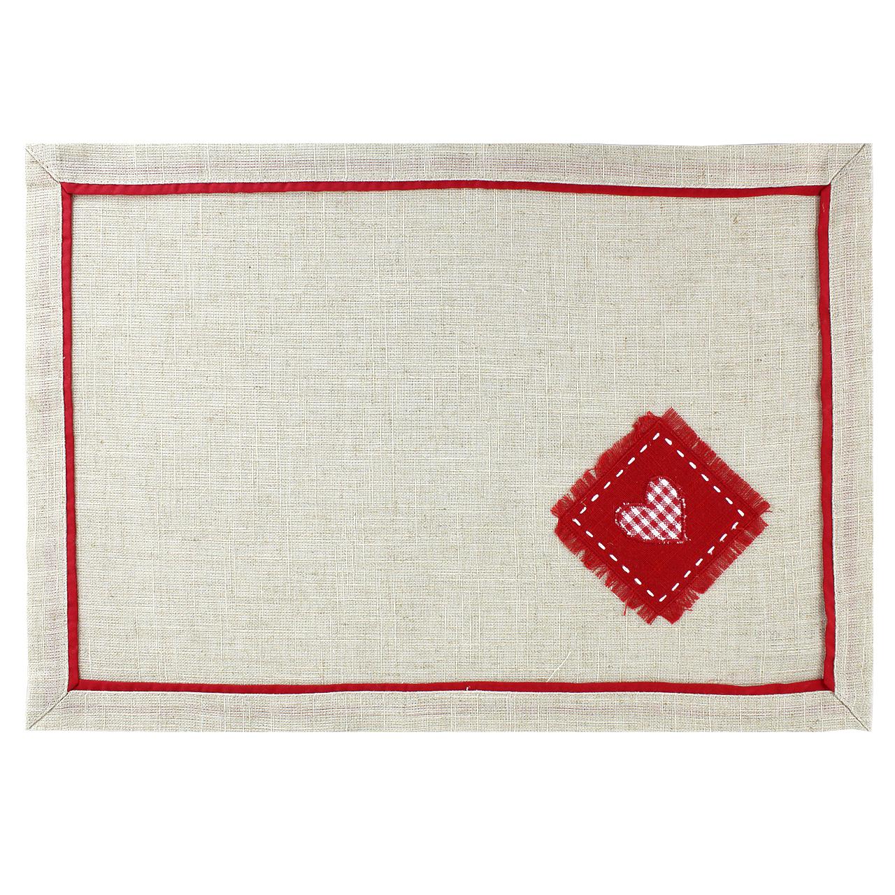 Servet De Masa Din Polyester Si In Bej Cu Inima 49x34 Cm