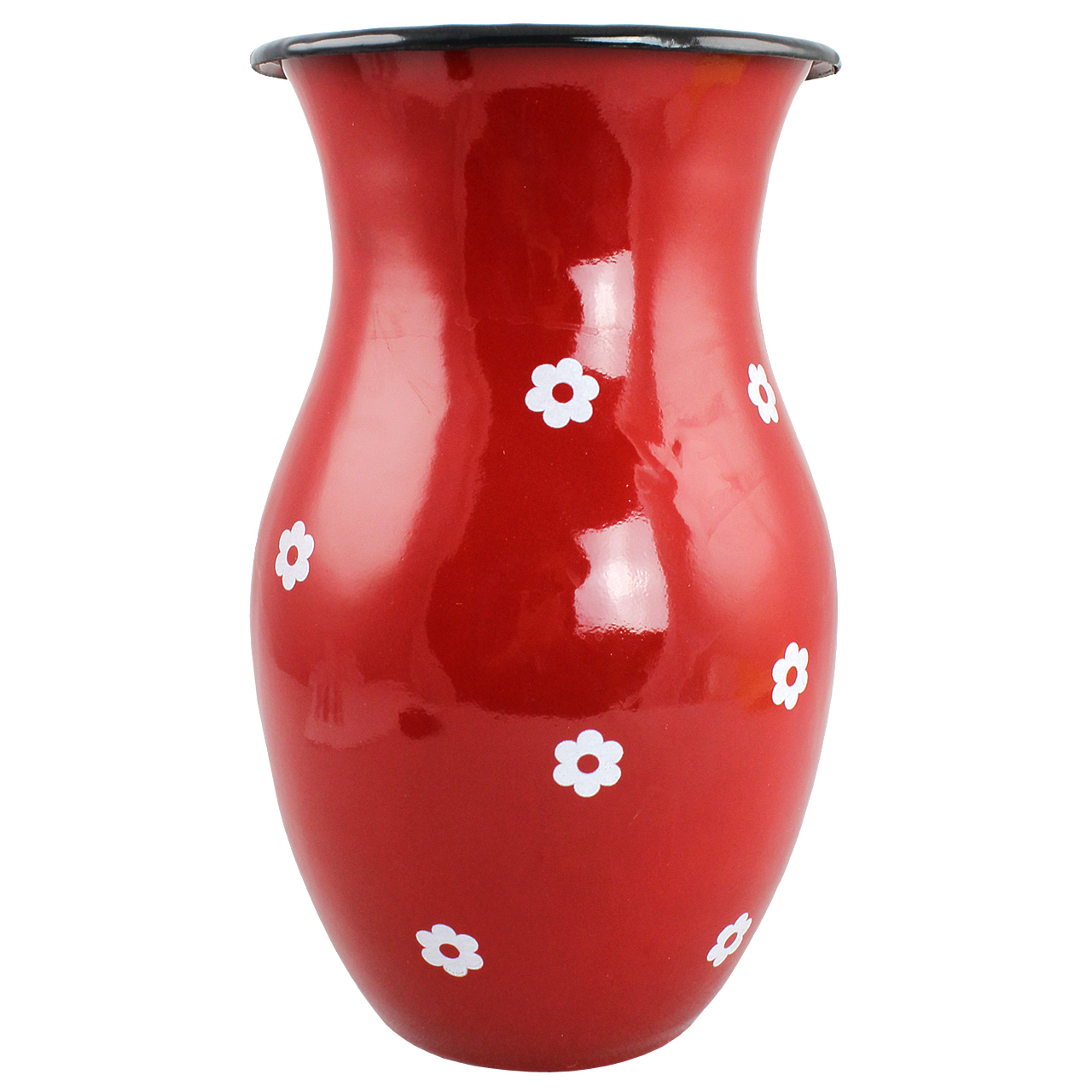 Vaza Din Metal Rosu Cu Floricele 25 Cm