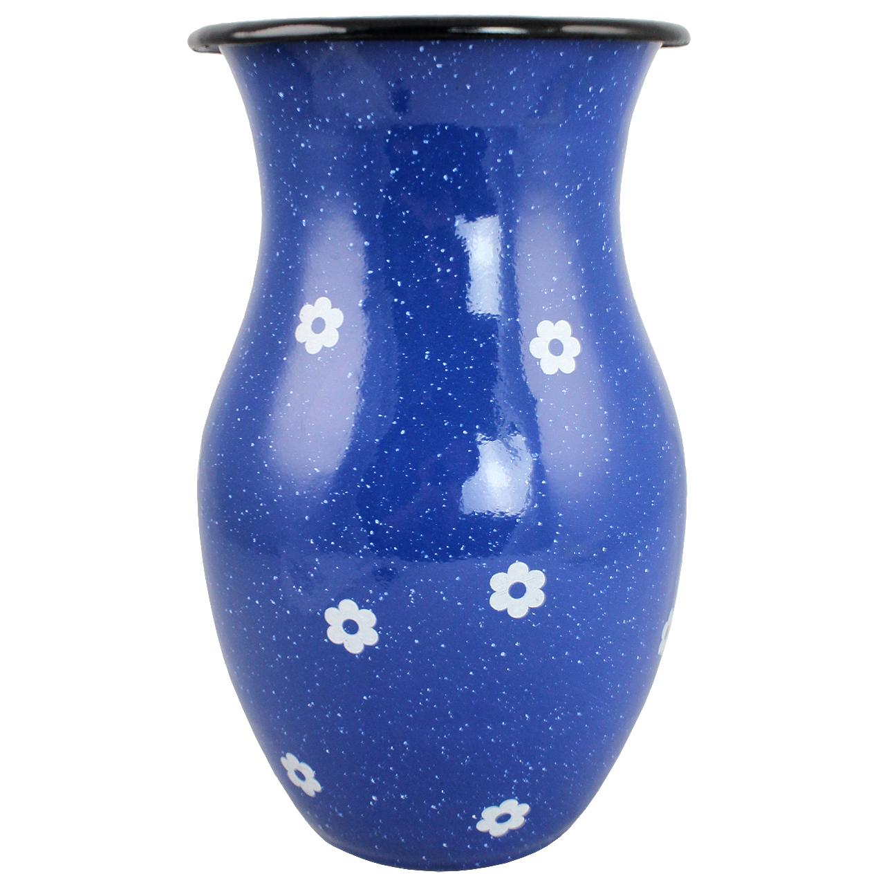 Vaza Din Metal Albastru Cu Floricele 25 Cm
