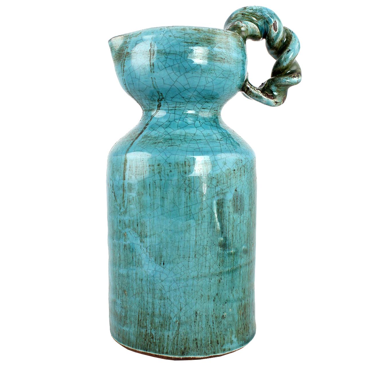 Carafa Decorativa Cu Toarta Impletita Din Ceramica Turcoaz