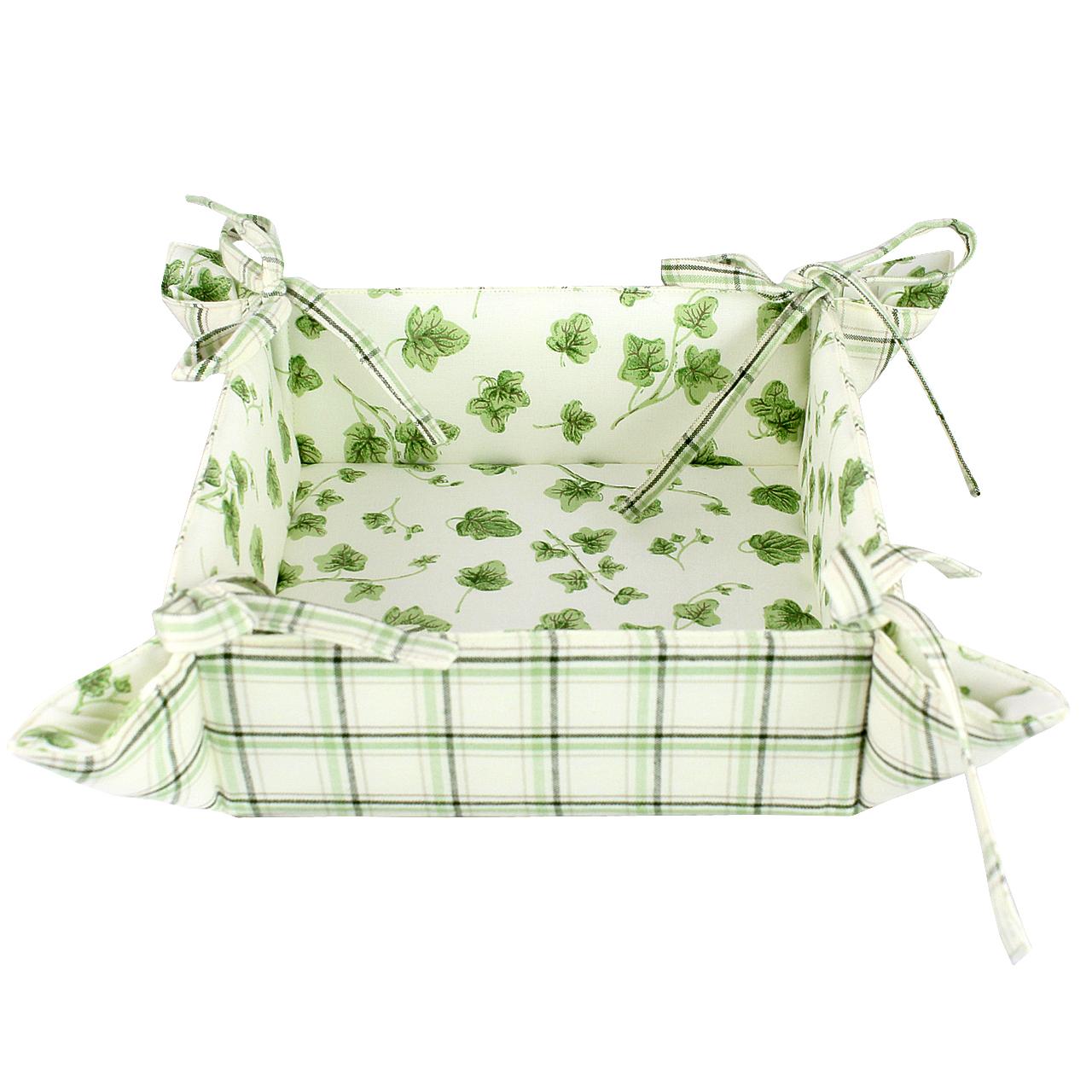 Cos Pentru Paine Din Textil In Carouri Verzi
