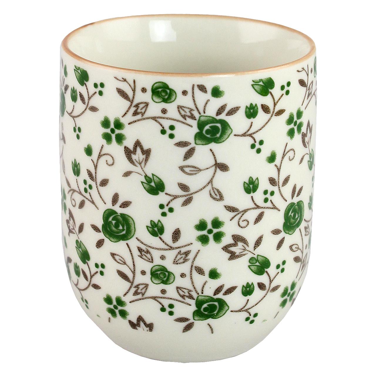 Cana Din Ceramica Cu Flori Verzi