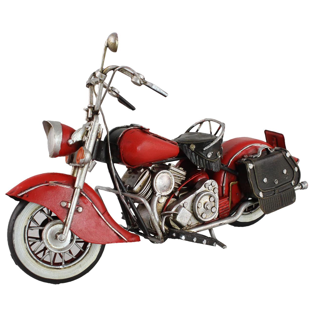 Macheta Motocicleta Din Metal Rosu 23 Cm