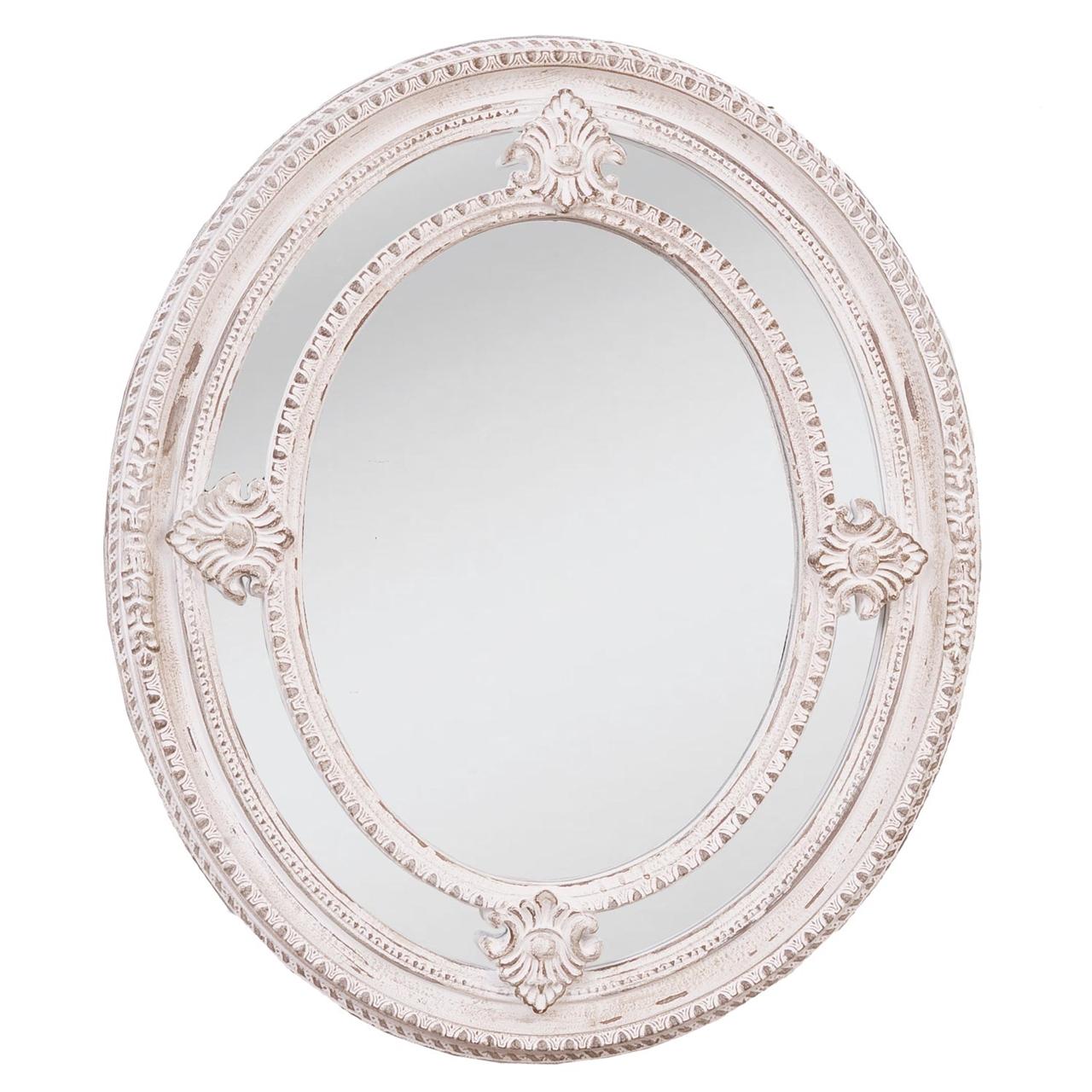 Oglinda Ovala Din Lemn Alb 72 Cm