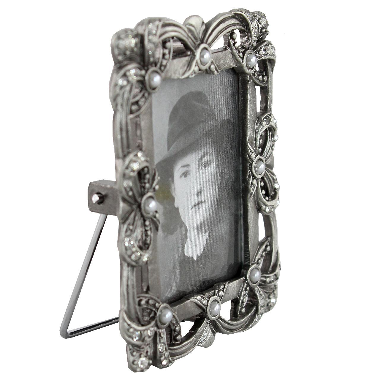 Rama Foto Dreptunghiulara Din Metal Argintiu Cu Pietre 7x5.5 Cm