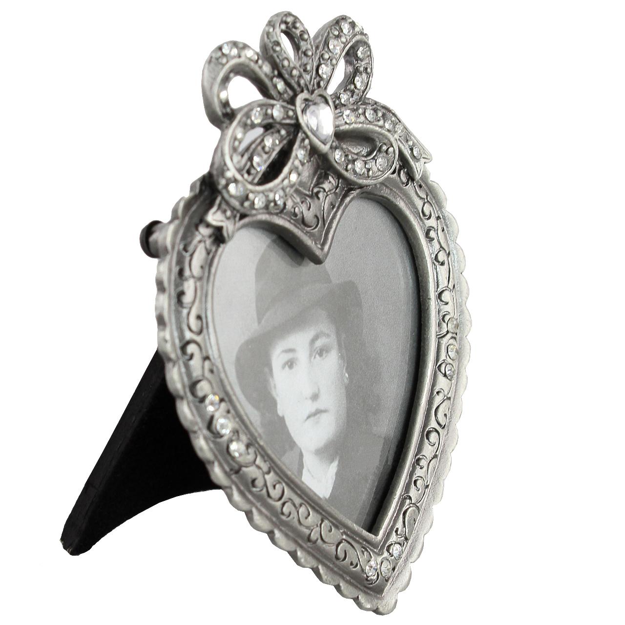 Rama Foto Inima Din Metal Argintiu Cu Pietre 9x7 Cm