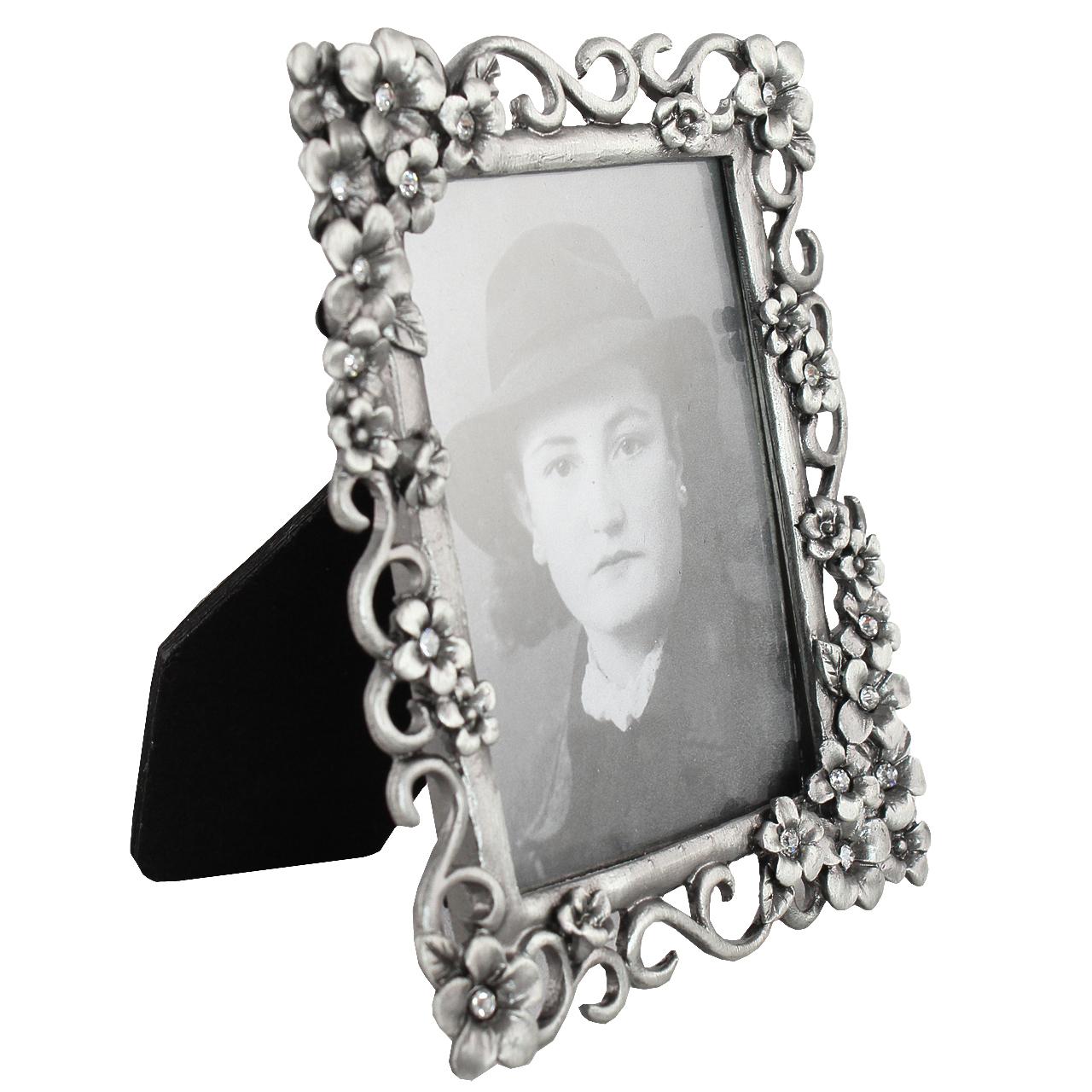 Rama Foto Dreptunghiulara Din Metal Argintiu Cu Pietre 12x9.5 Cm