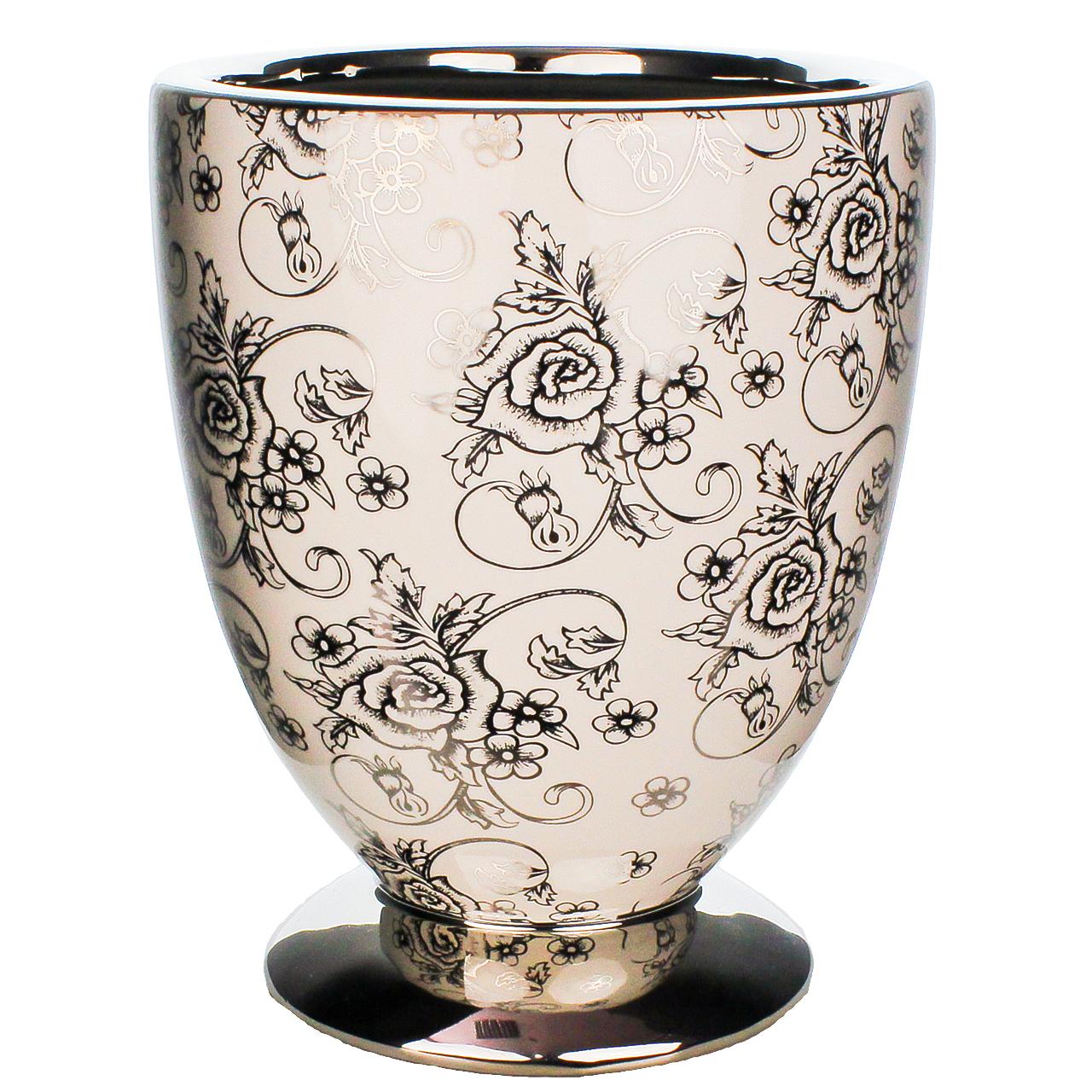 Ghiveci Din Ceramica Alba Si Argintie 20 Cm