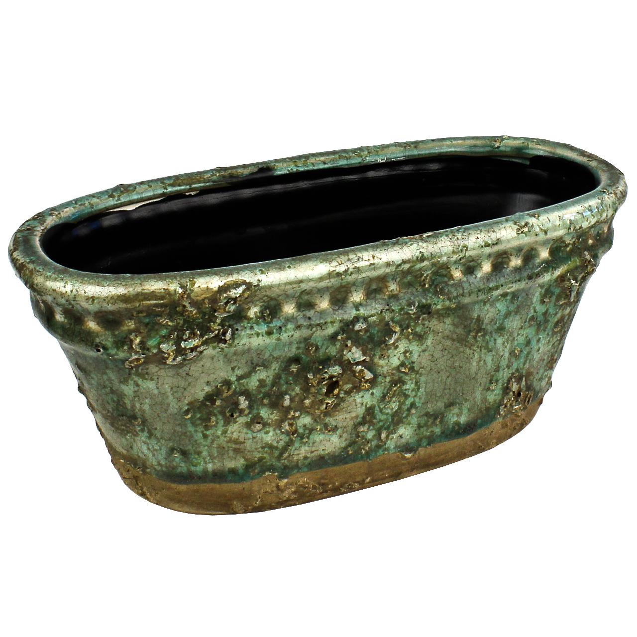 Jardiniera Din Ceramica Verde 26 Cm