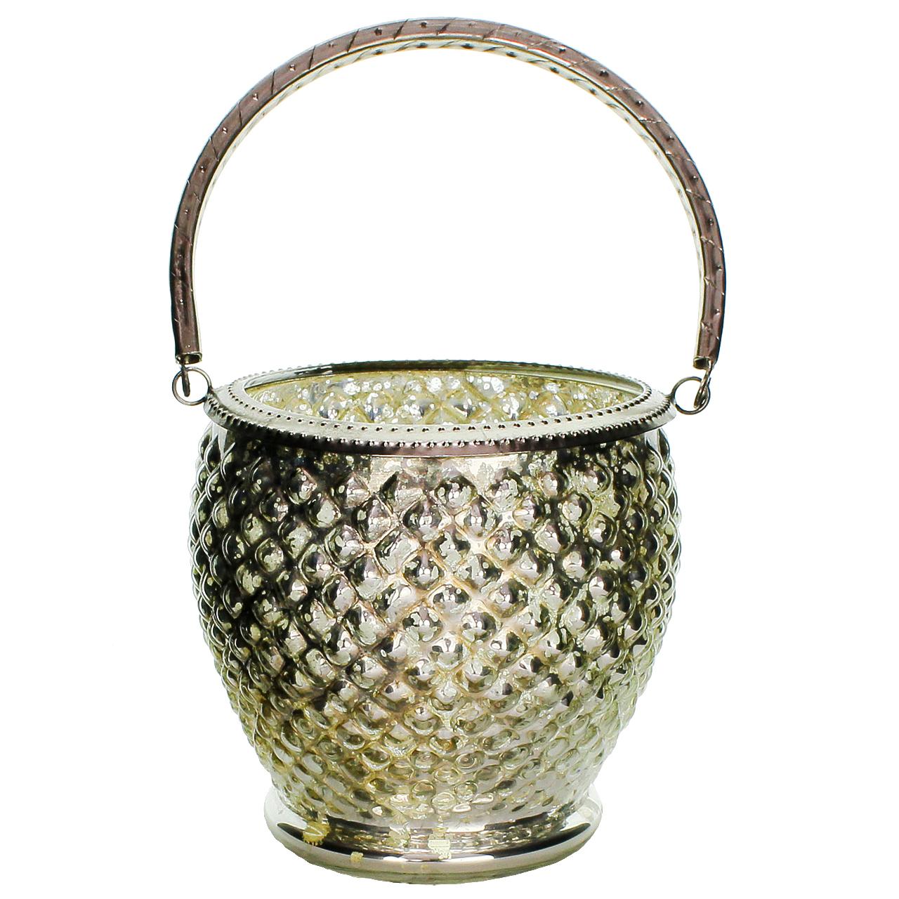 Candela Din Metal Si Sticla 13 Cm