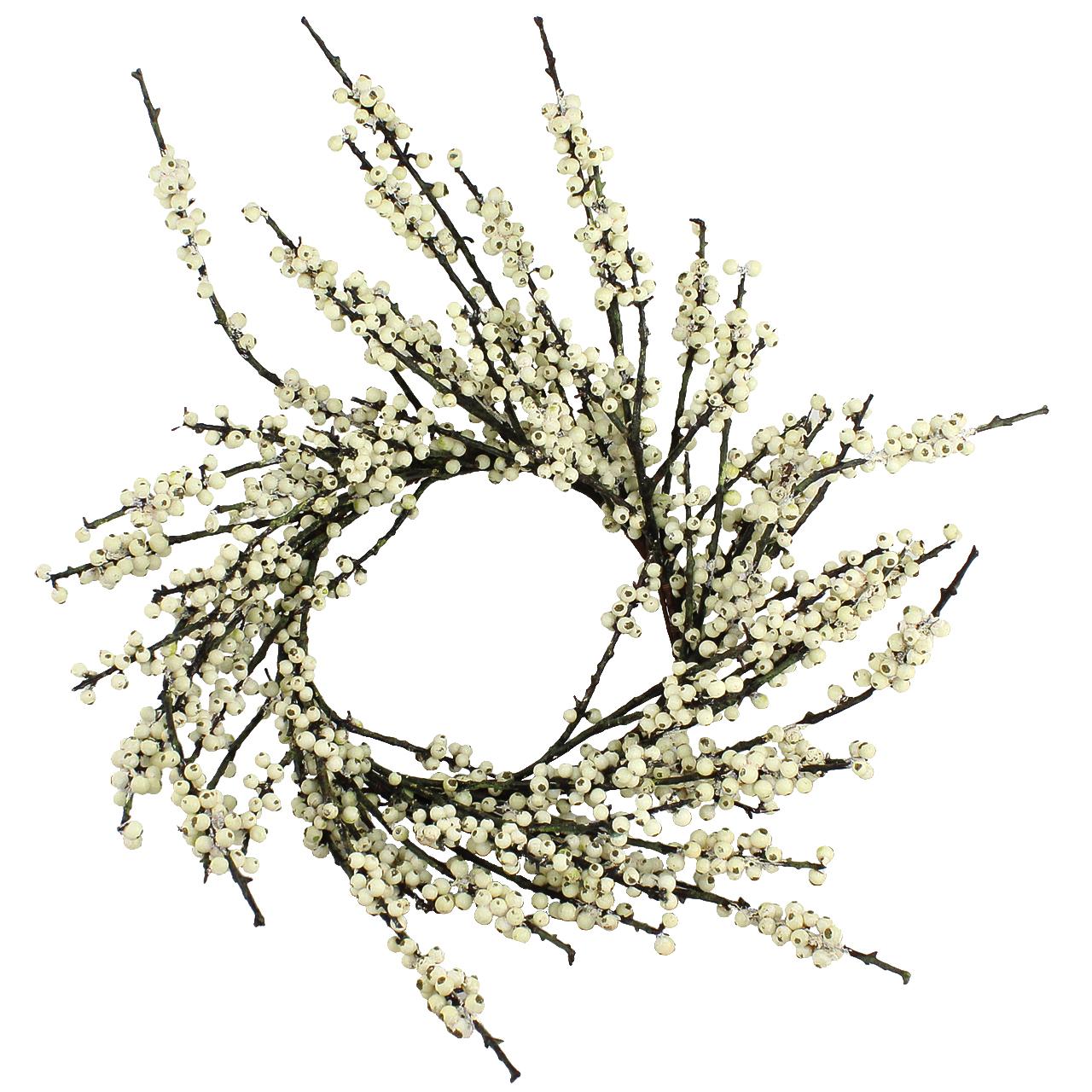 Coronita Artificiala Cu Boabe Albe 65 Cm