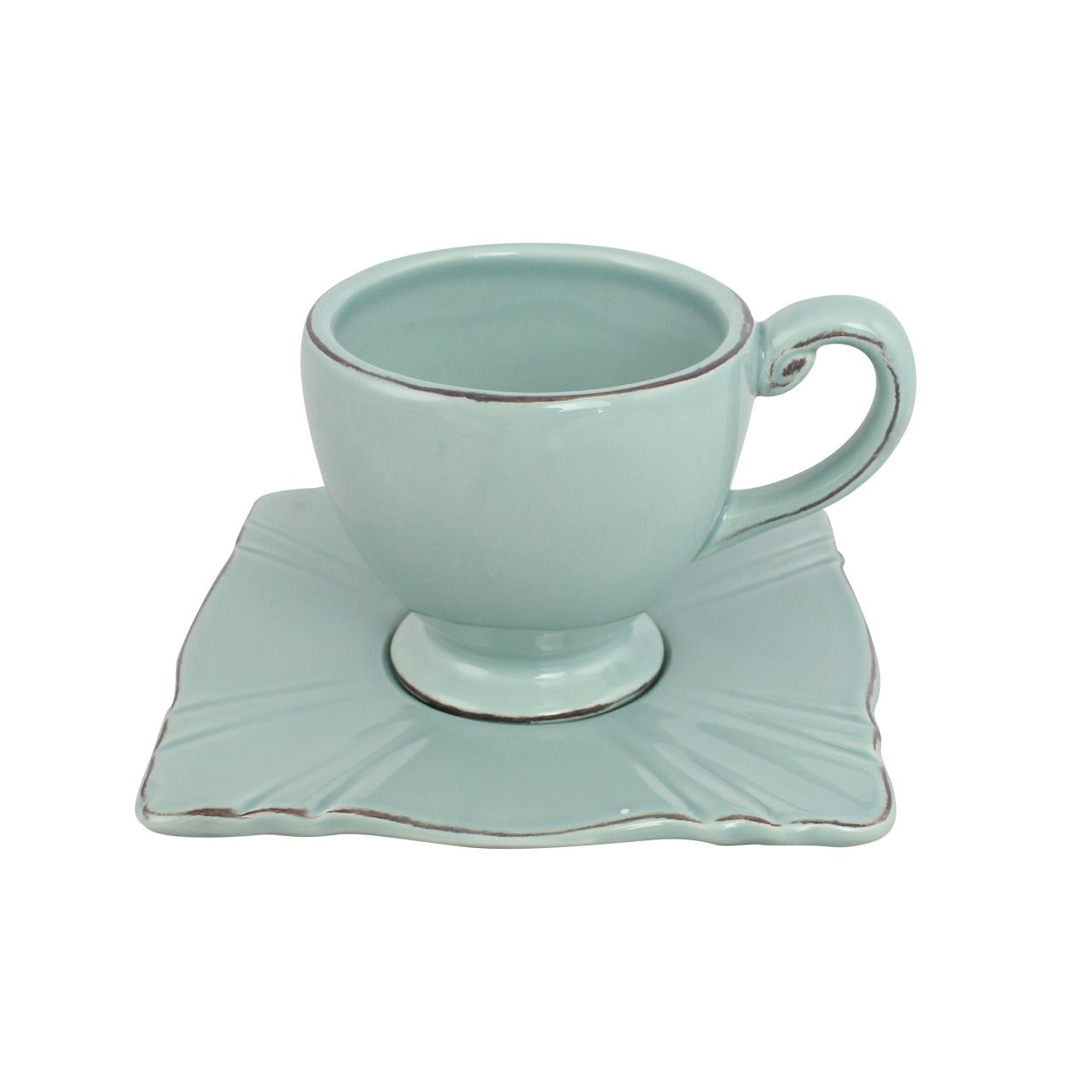 Ceasca Cu Farfurie Din Ceramica Vernil