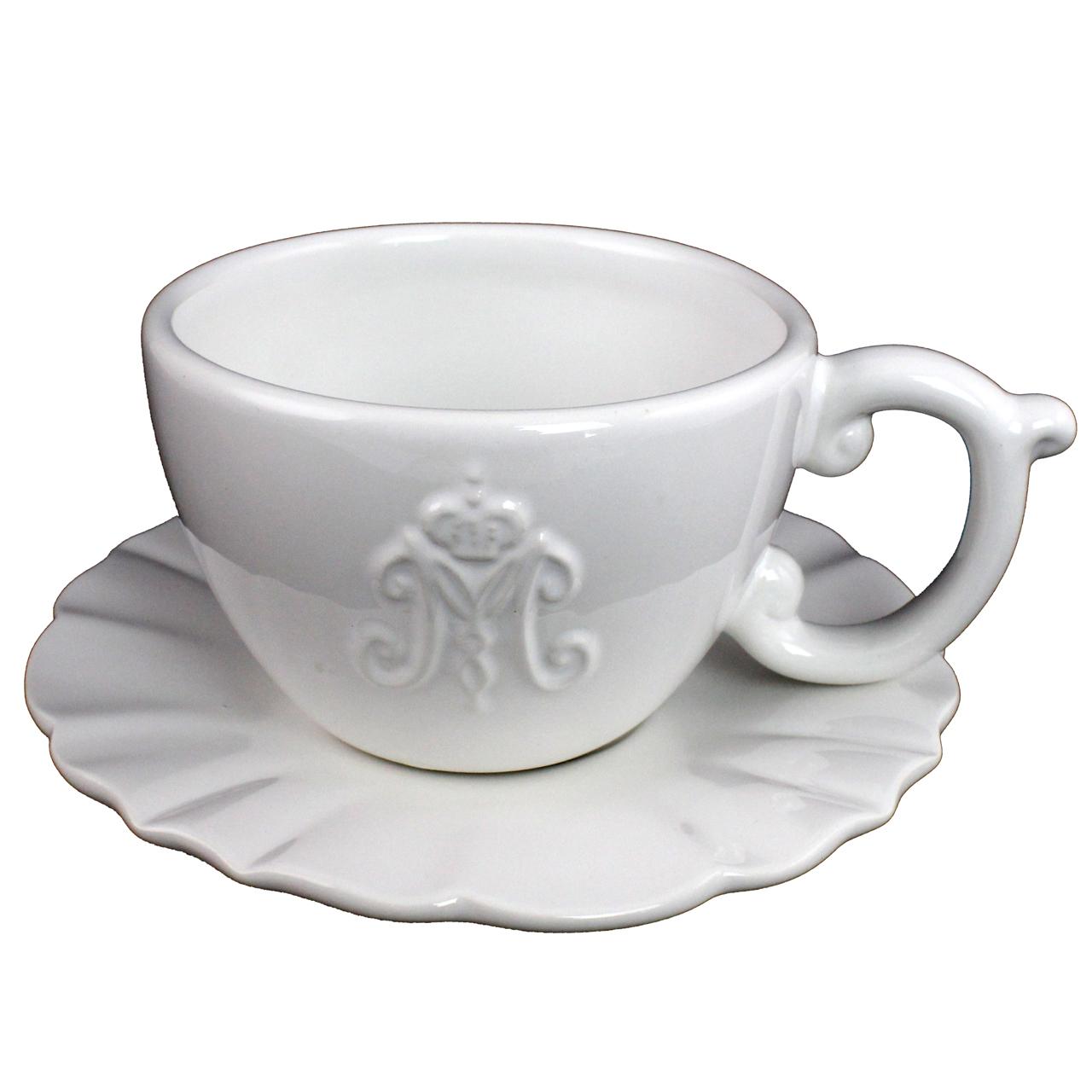 Ceasca Cu Farfurie Din Ceramica Alba