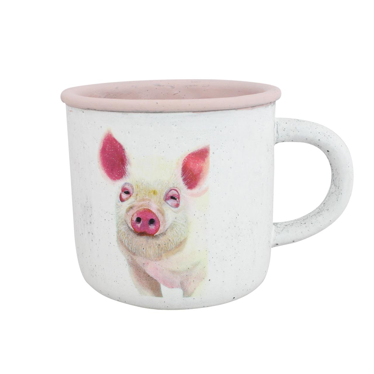 Ghiveci Din Ceramica Roz Cu Porcusor 14 Cm