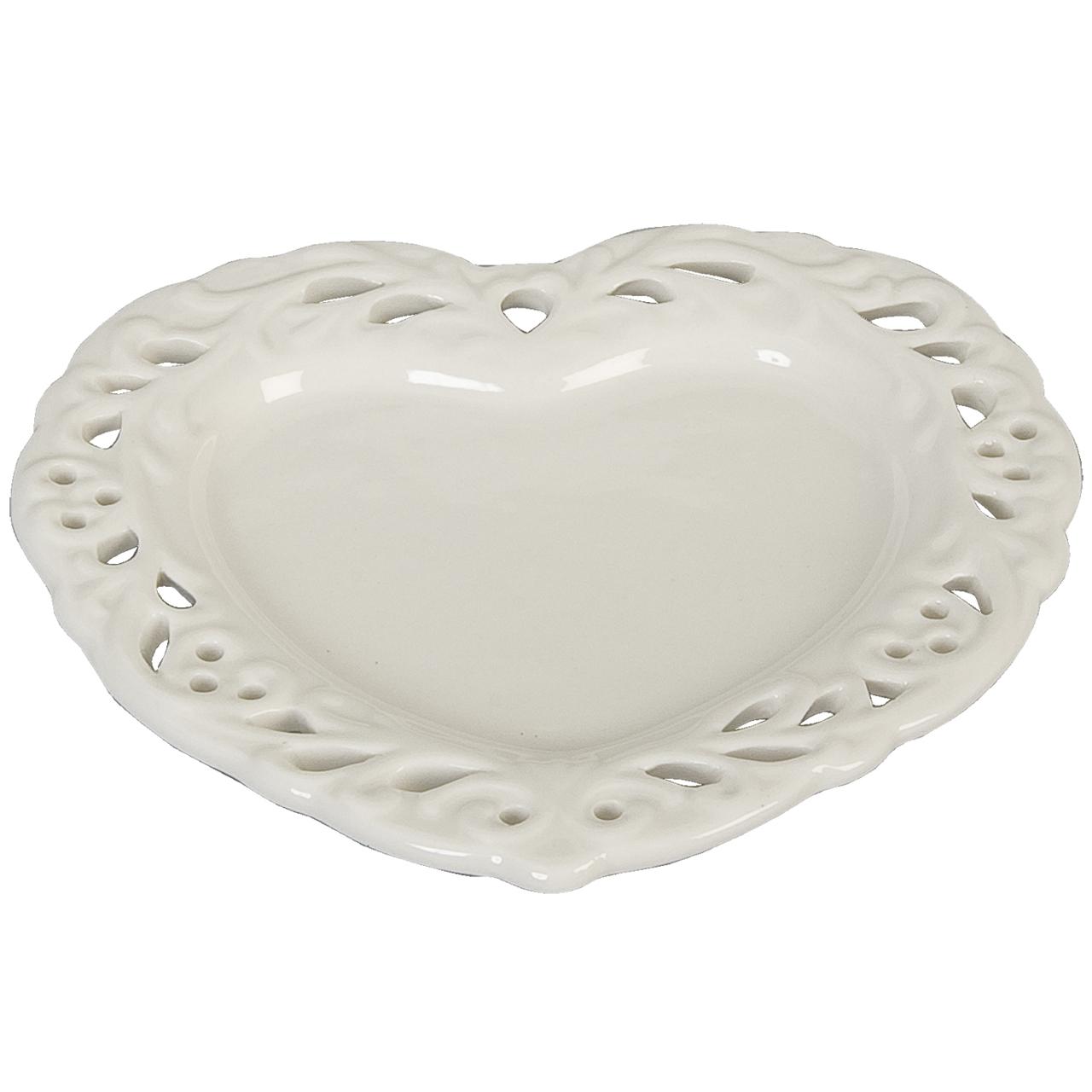 Platou In Forma De Inima Din Ceramica Alba 15 Cm